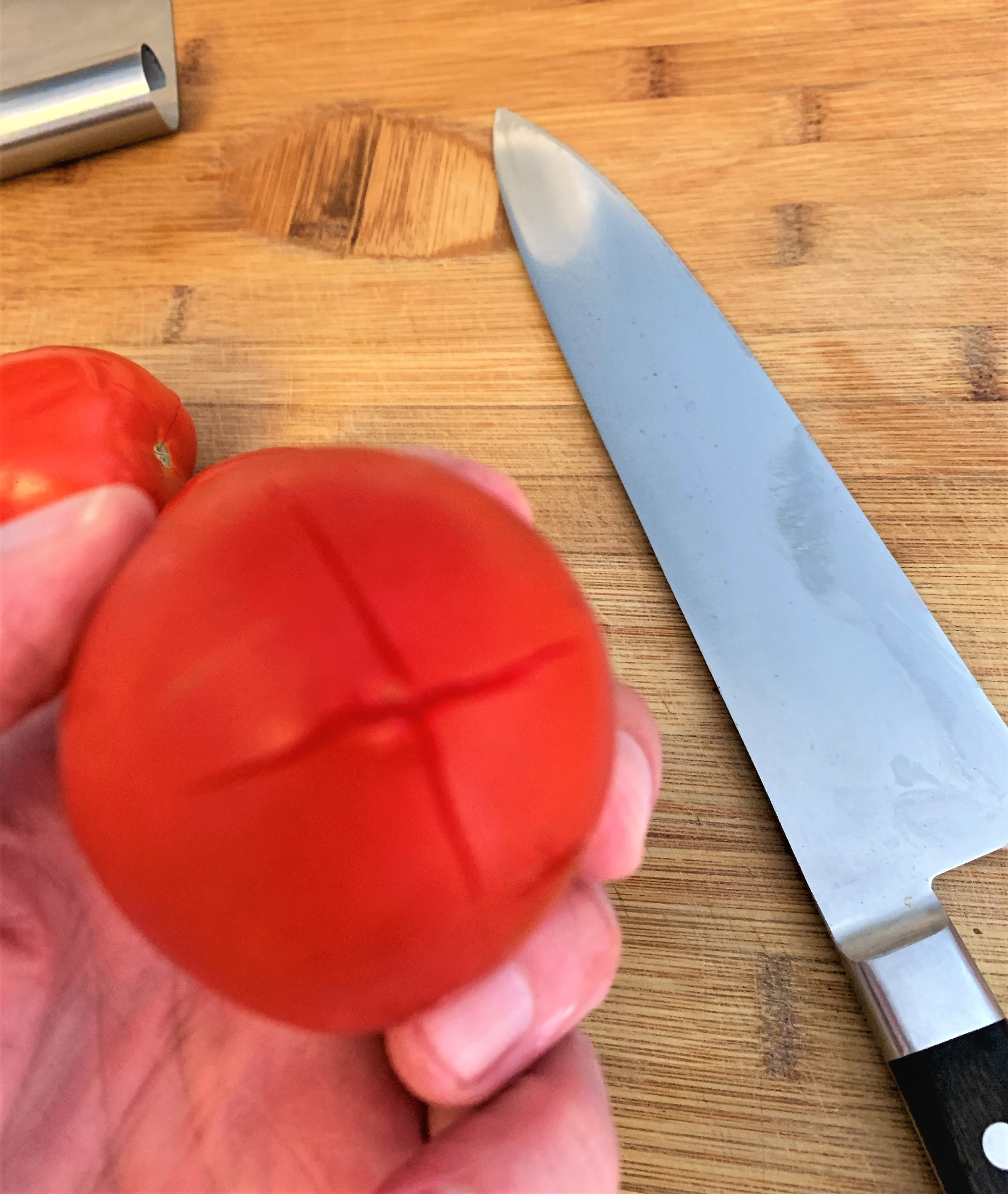 Prepping Tomatoes for Blanching