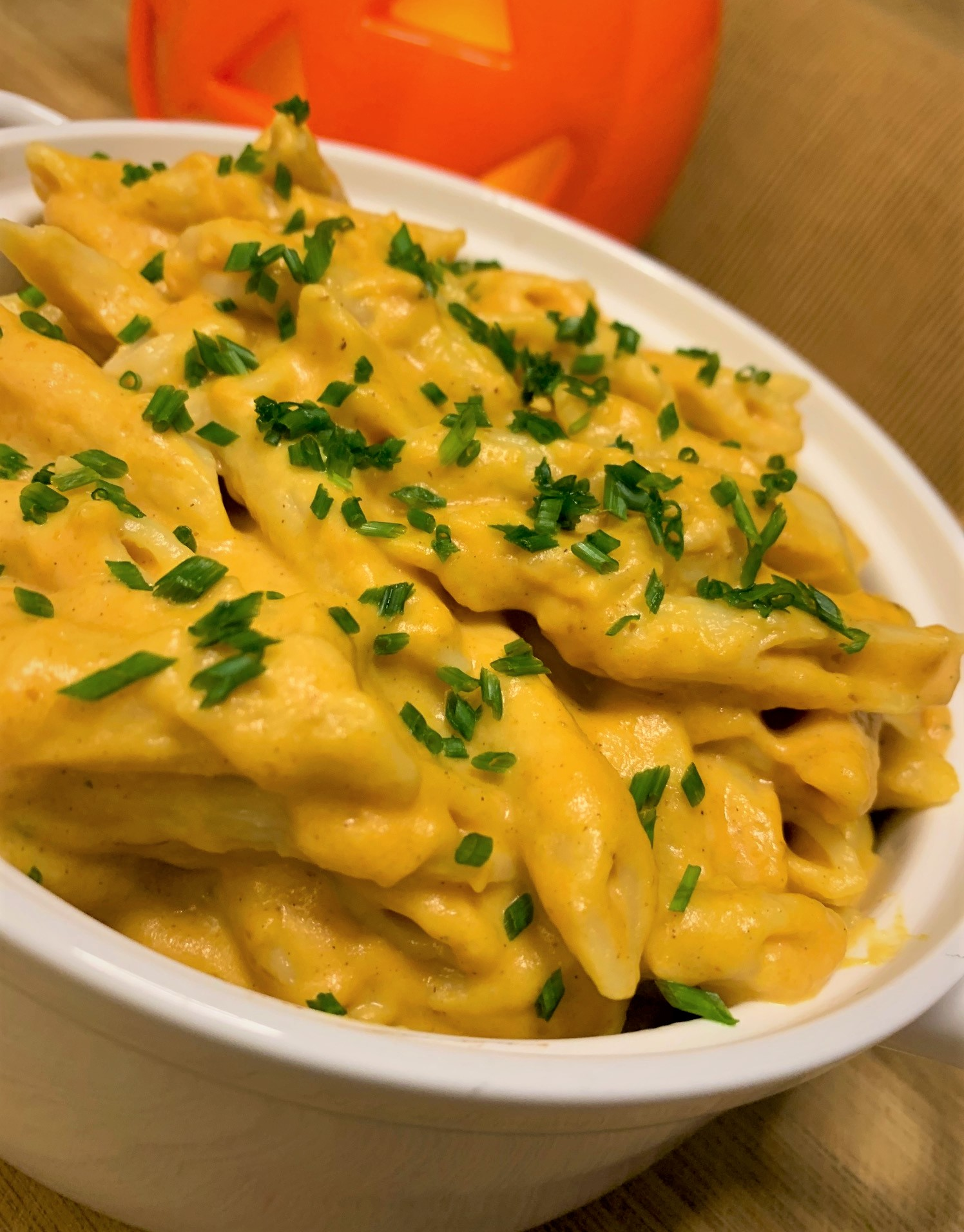 Our completed Pumpkin Mac & Cheese