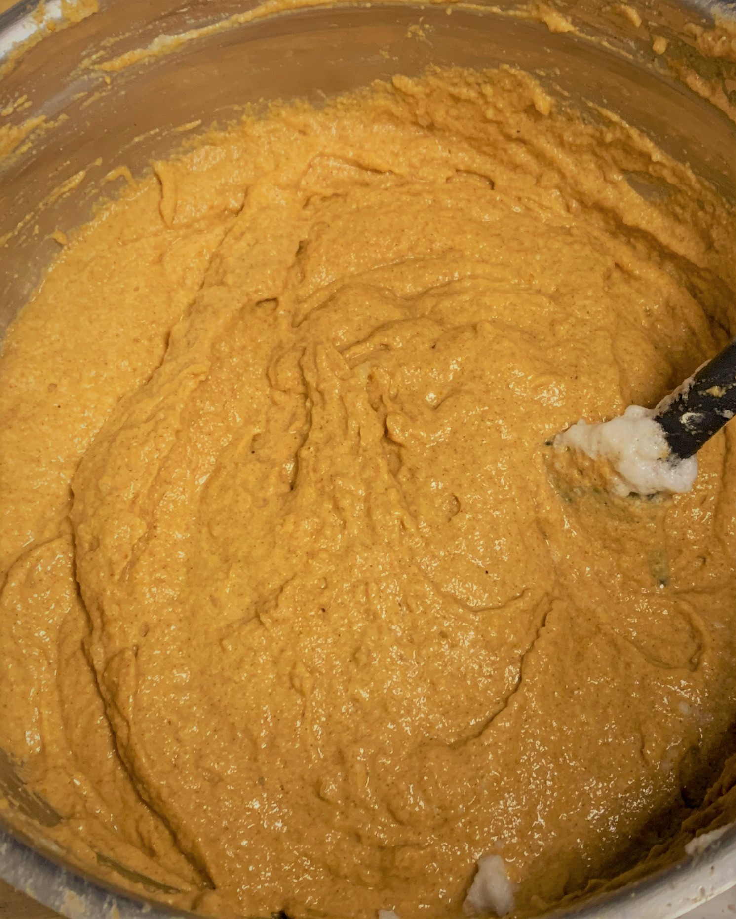 The completed batter for our Pumpkin Mickey Waffles