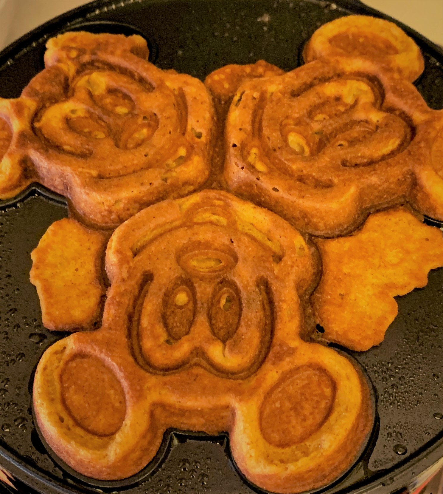 Our cooked Pumpkin Mickey Waffles - Pumpkin Spice Waffle Sundae