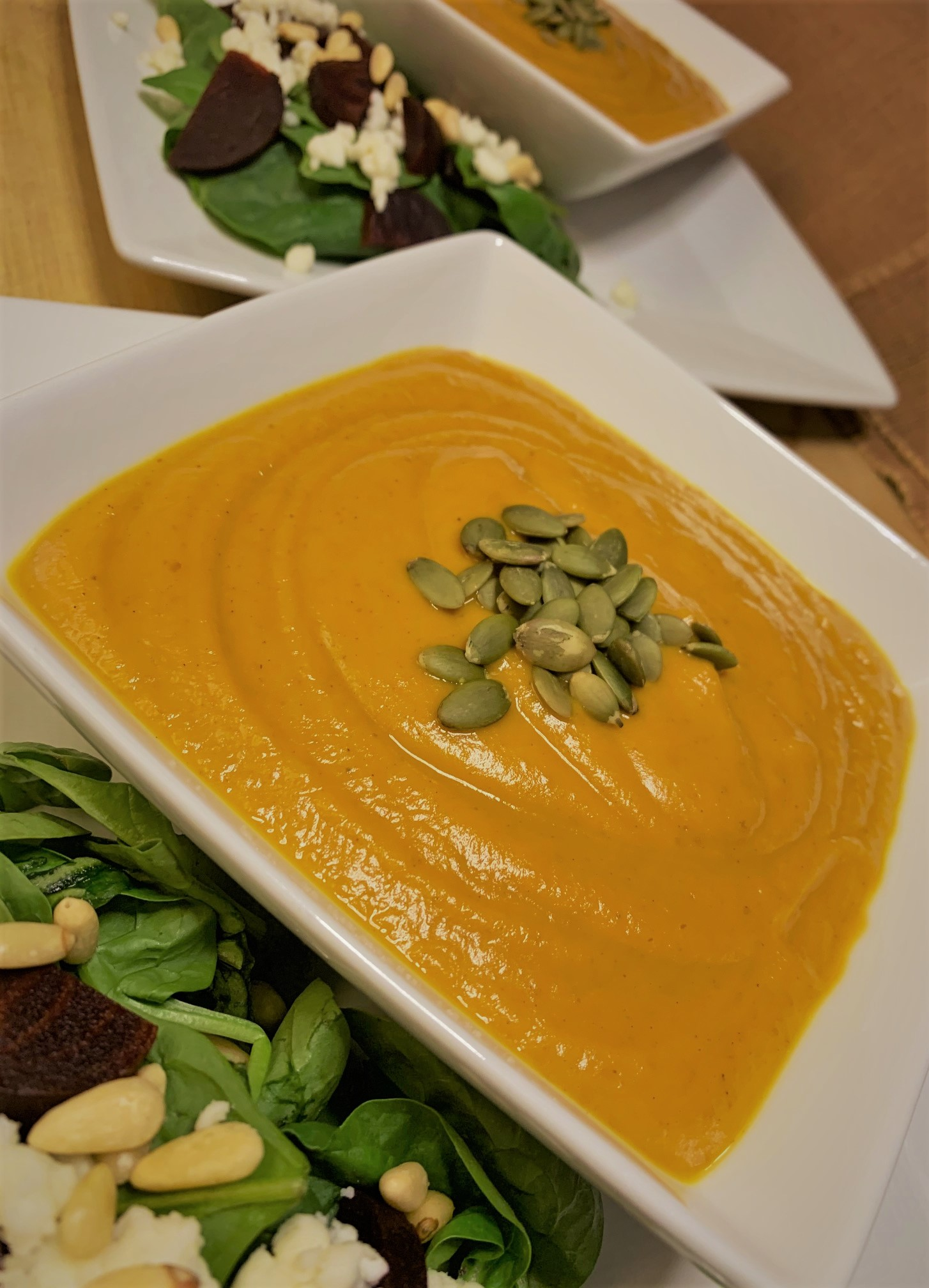 Our plated Pumpkin Soup from Sunshine Seasons