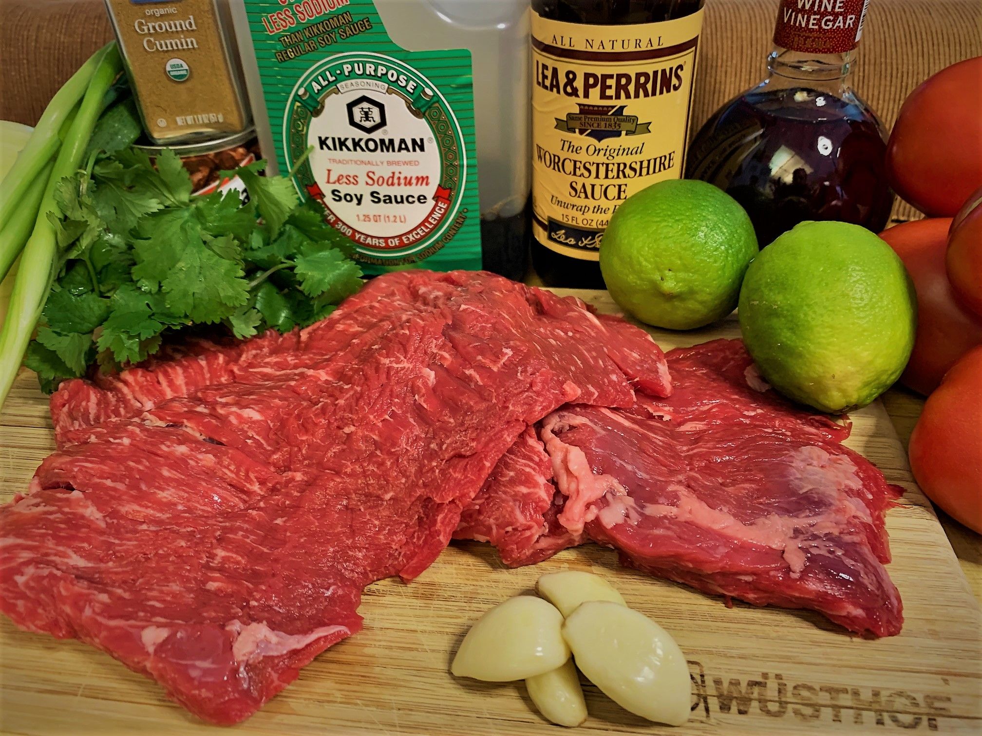 The ingredients for our Carne Asada Spring Rolls