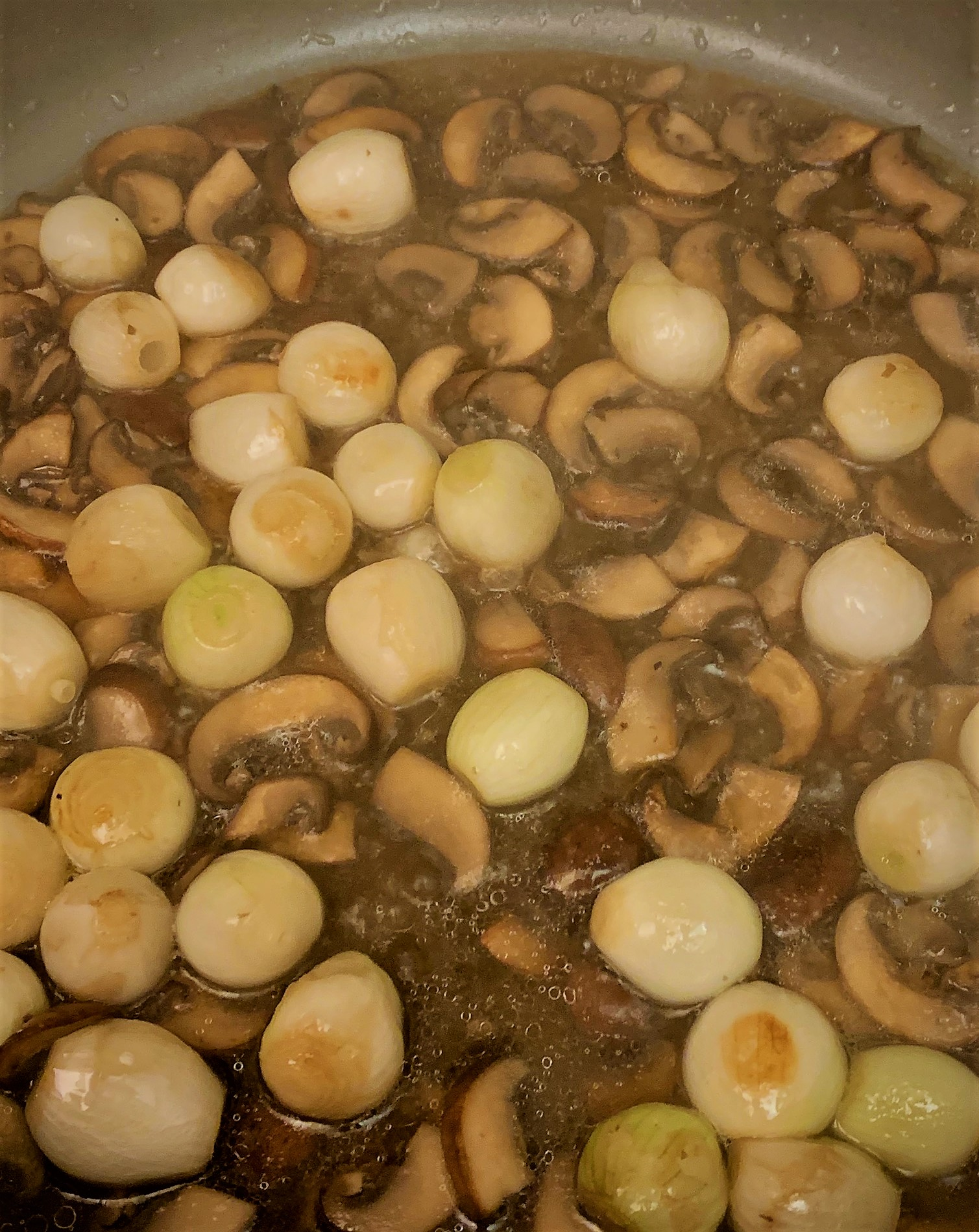 Braising Liquid added to the Mushrooms and Parl Onions