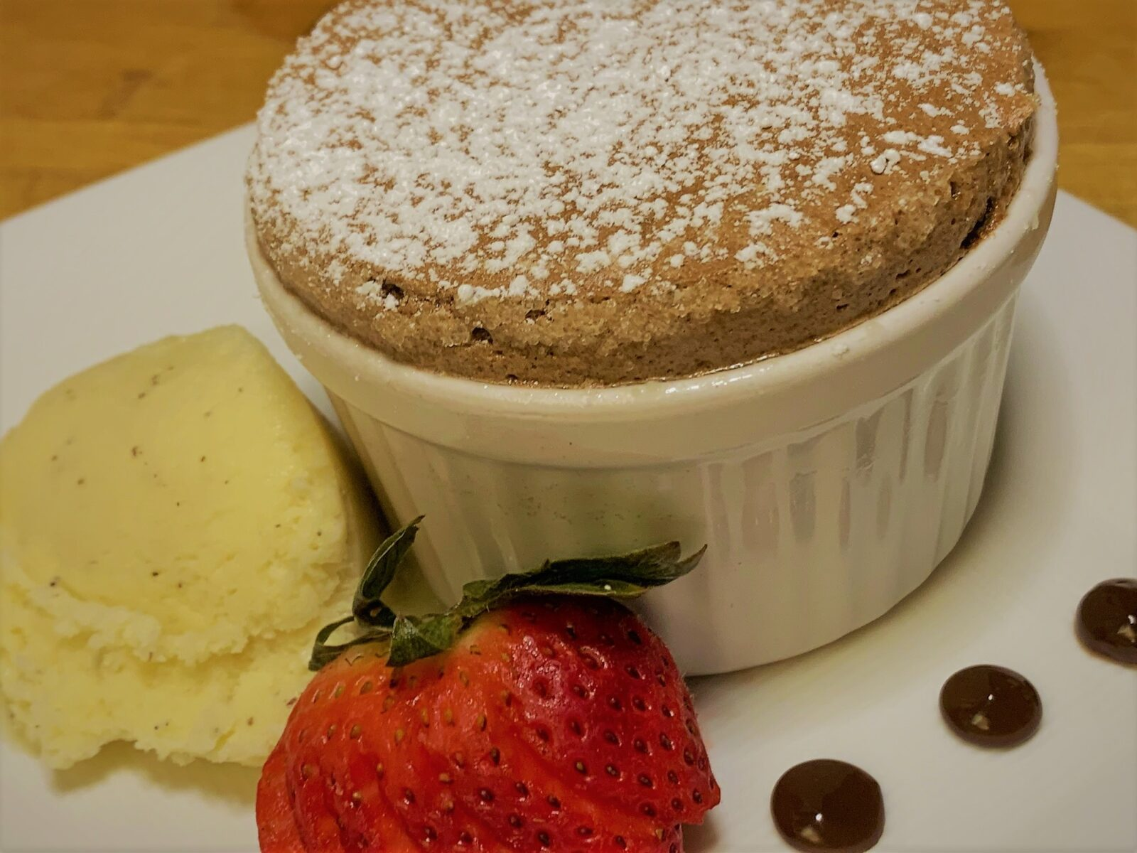 Our plated Chocolate Souffle from Palo