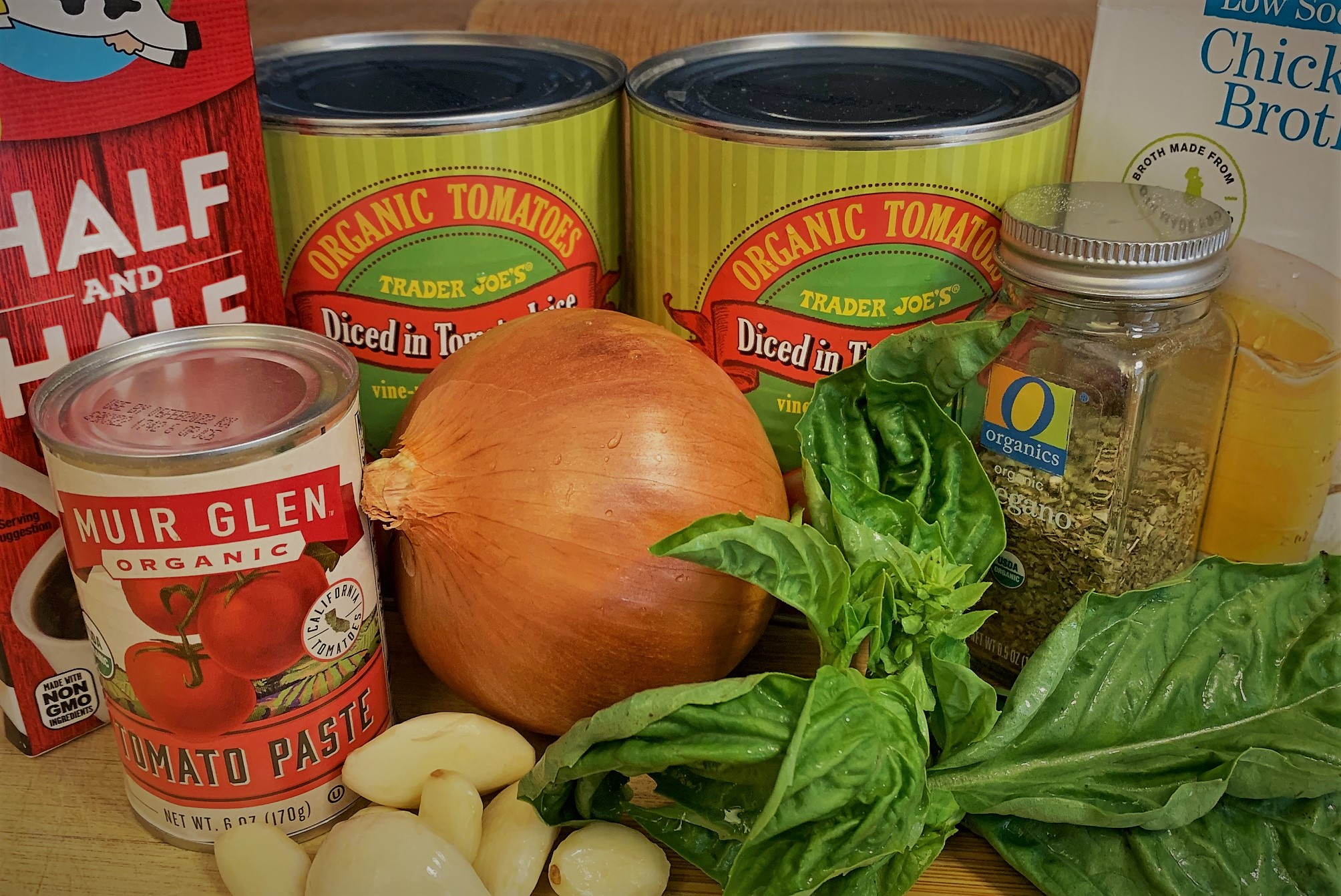 The ingredients for our Tomato Basil Soup from Jolly Holiday Bakery Cafe