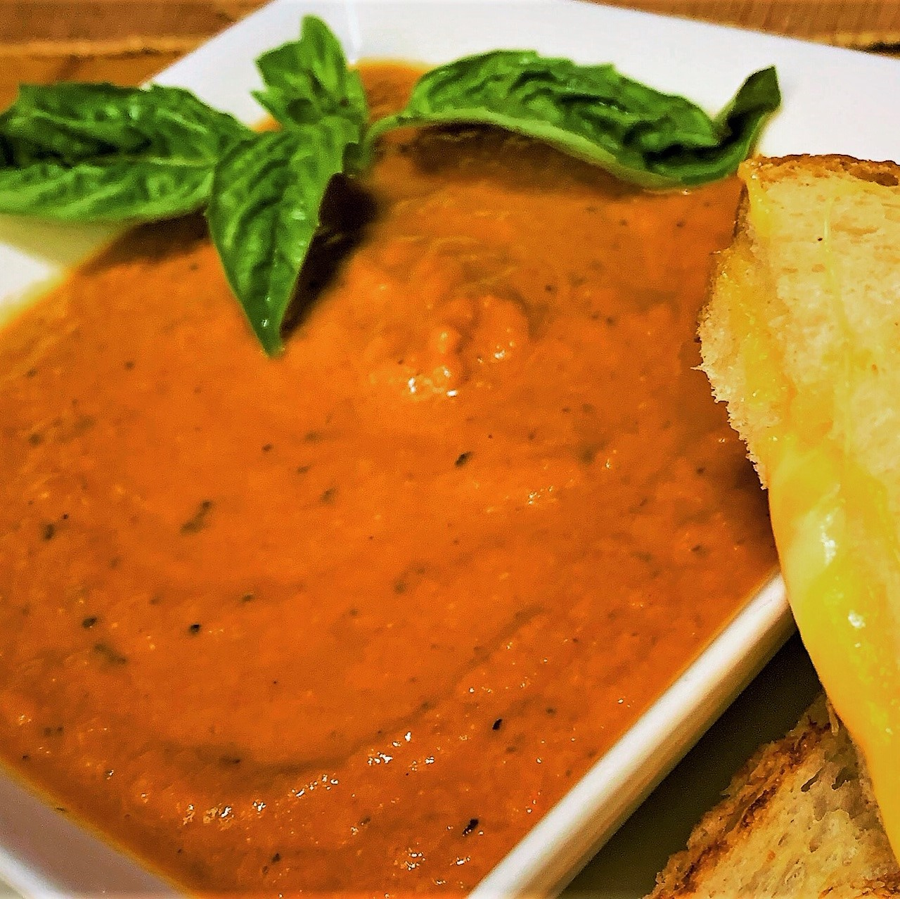 Our plated Tomato Basil Soup from Jolly Holiday Bakery Cafe