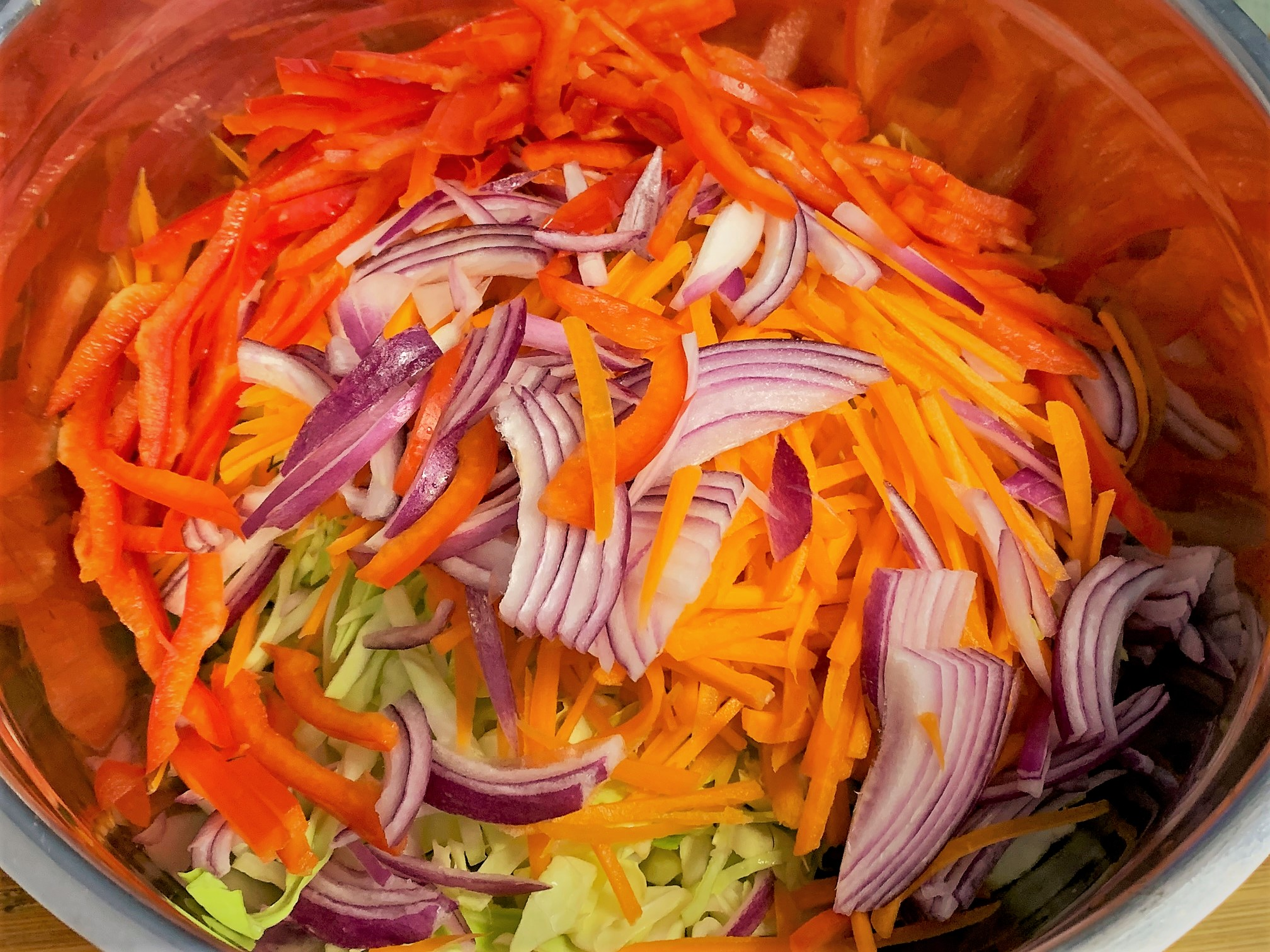 The shredded vegetables for the Slaw - Ronto Wrap Copy-Cat Recipe