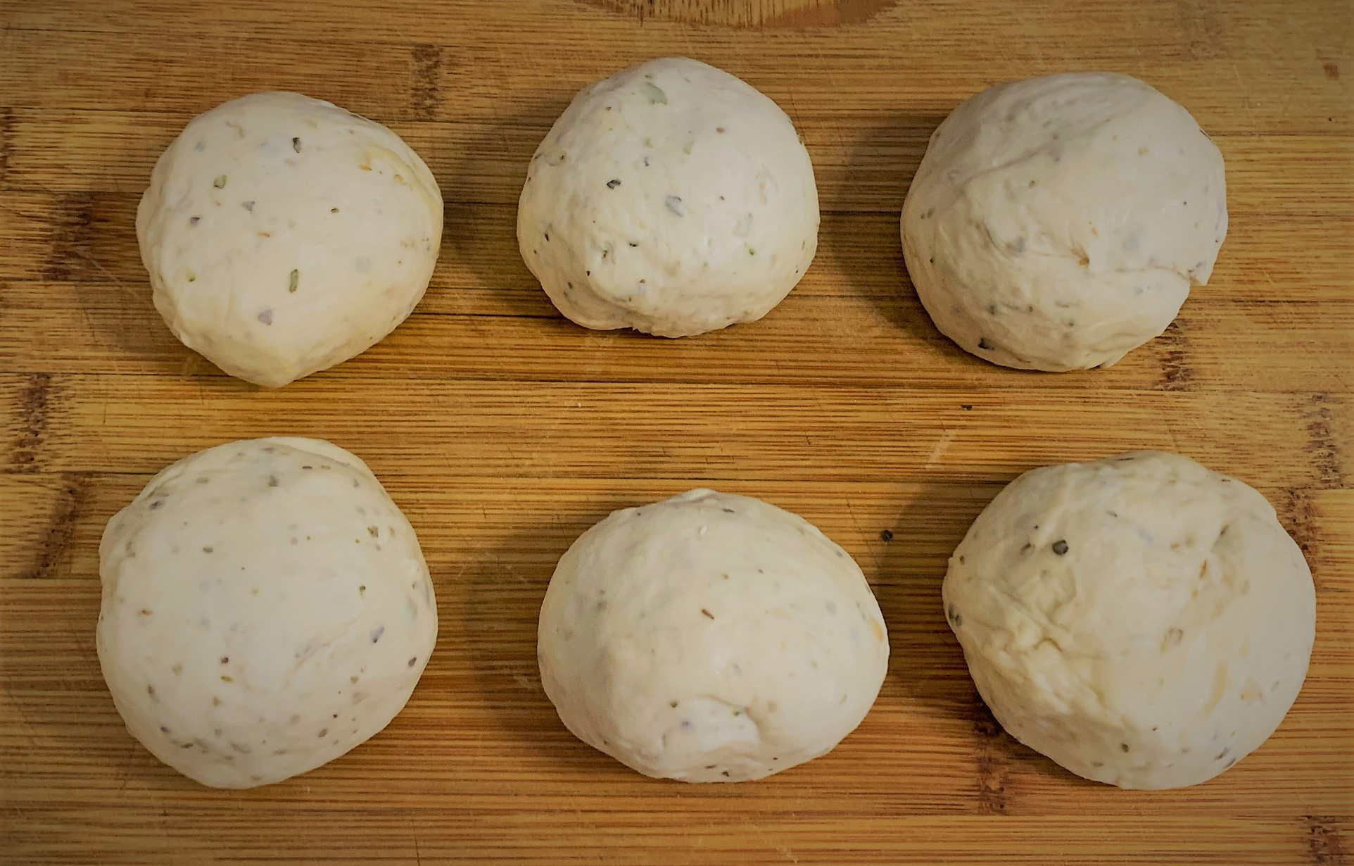 Our Ronto Wrappers dough separated into six portions