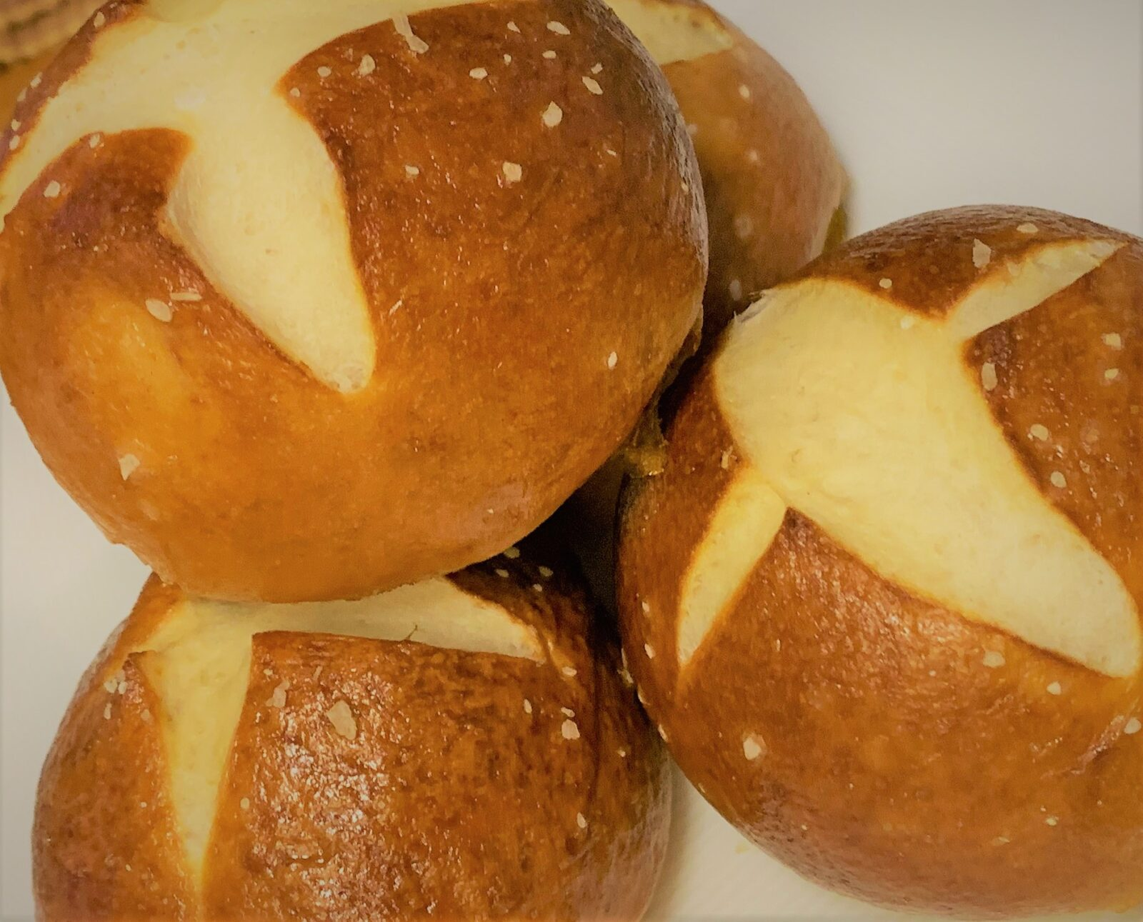 Our completed Pretzel Slider Rolls