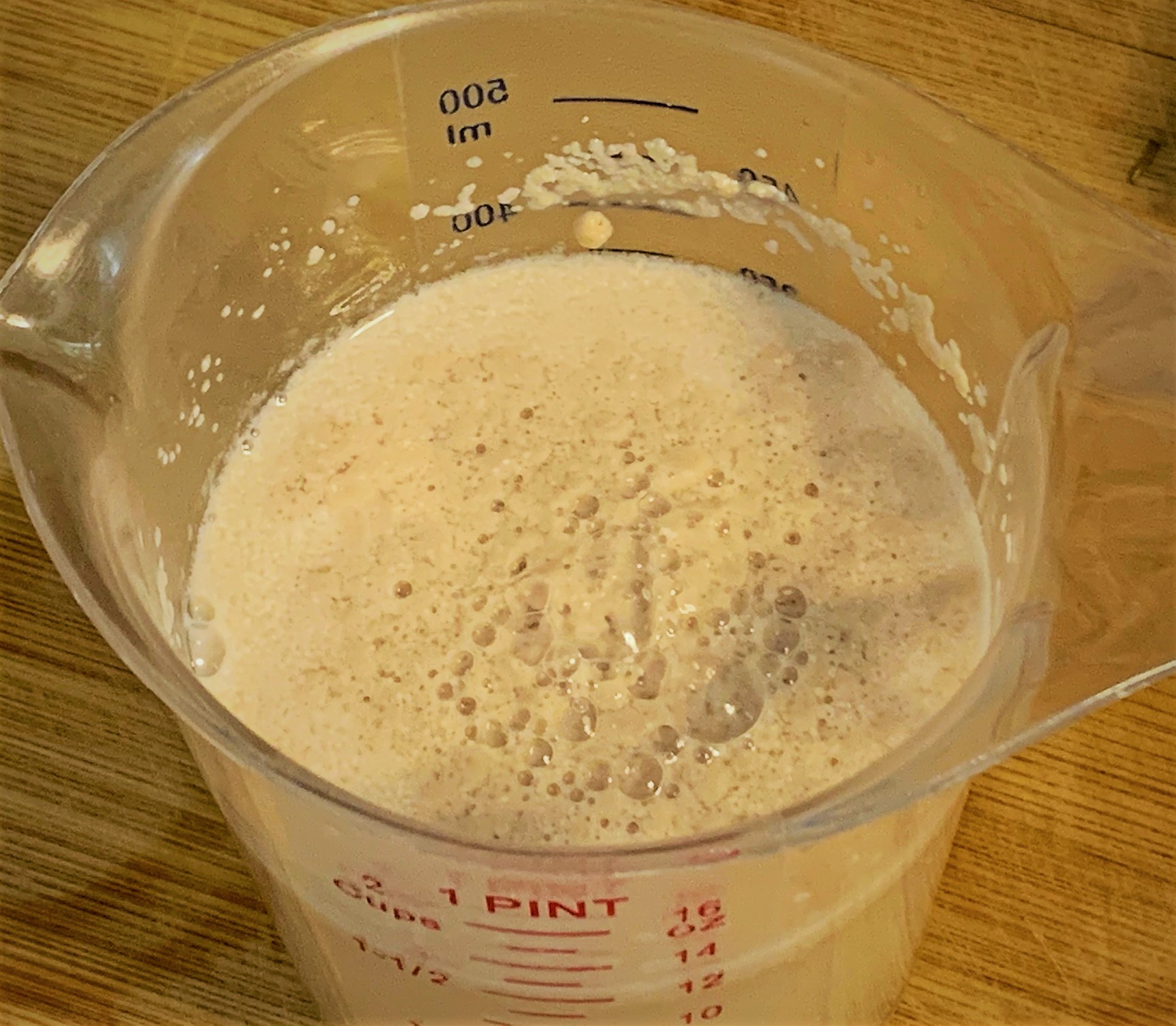 Our Yeast blooming with the Warm Water and Sugar