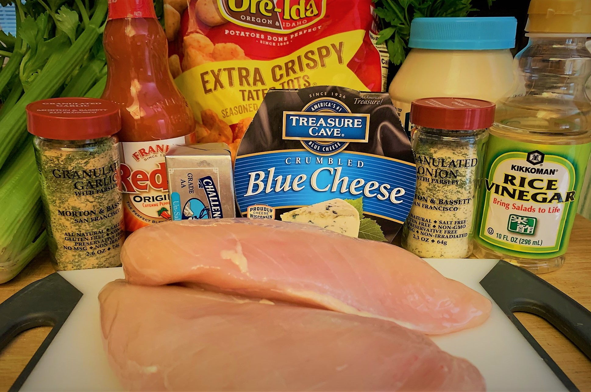 The Ingredients for our Loaded Buffalo Chicken Tots from The Friars Nook