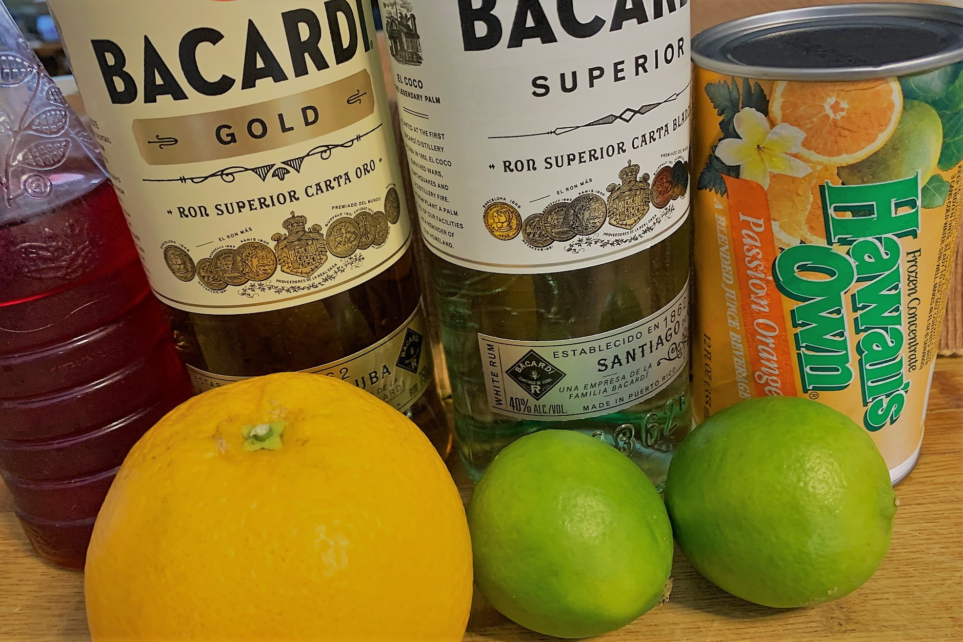 The ingredients for our In The Eye Of A Hurricane - A Hamilton Inspired Cocktail