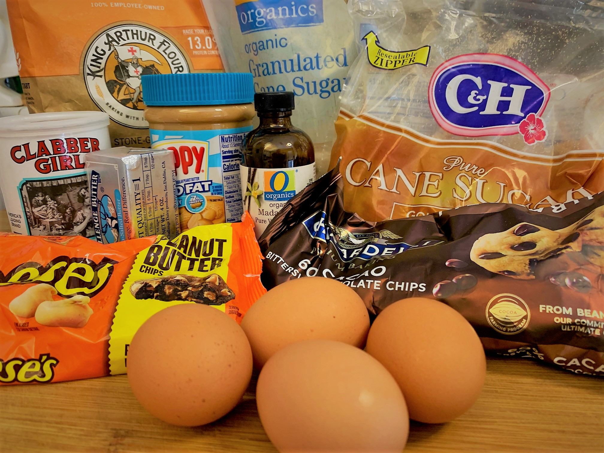 The ingredients for our Peanut Butter Cup Cake Bars