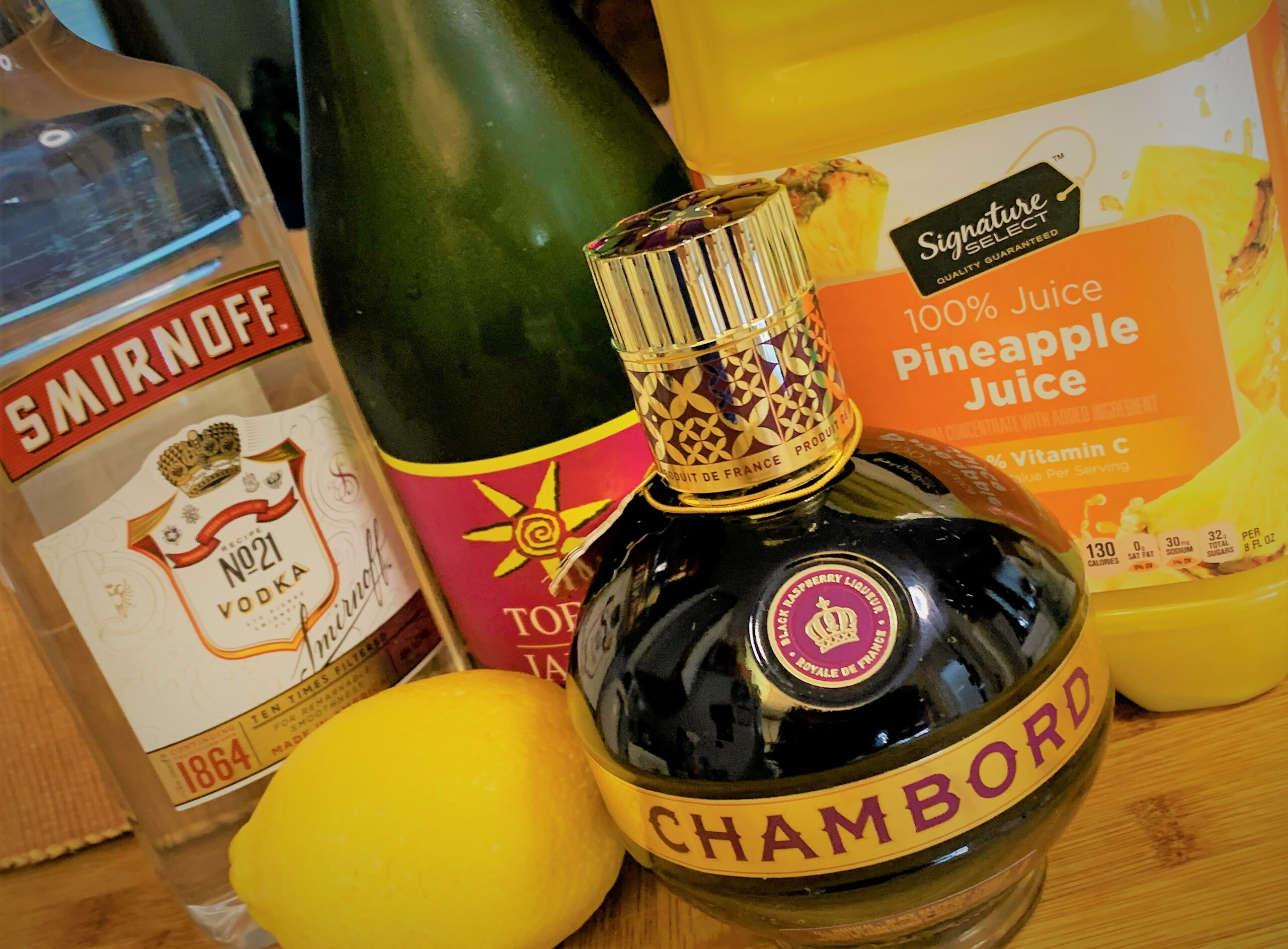 The ingredietns for our America's Favorite Fighting French Martini - A Hamilton Themed Cocktail