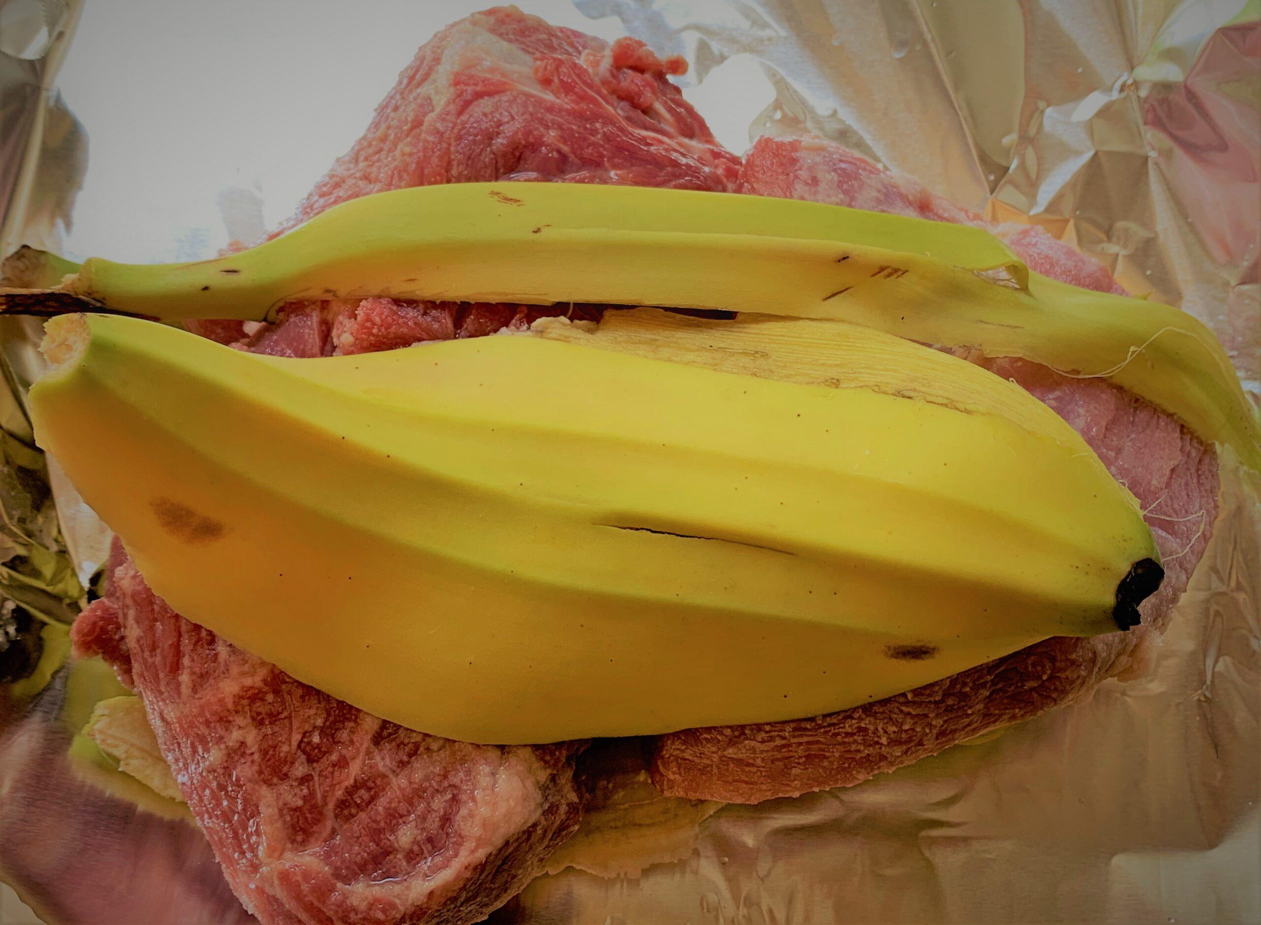 Banana Peel on top of the Pork Roast