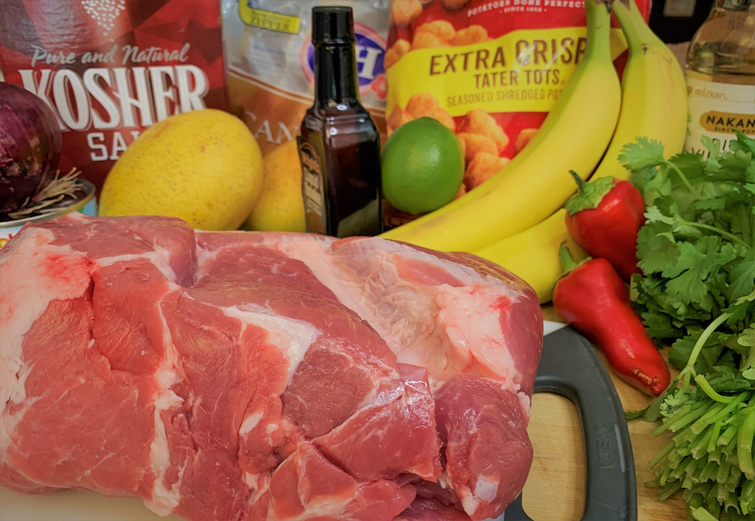 The ingredients for our Kalua-Style Pulled Pork Tots with Polynesian BBQ Sauce & Mango Salsa