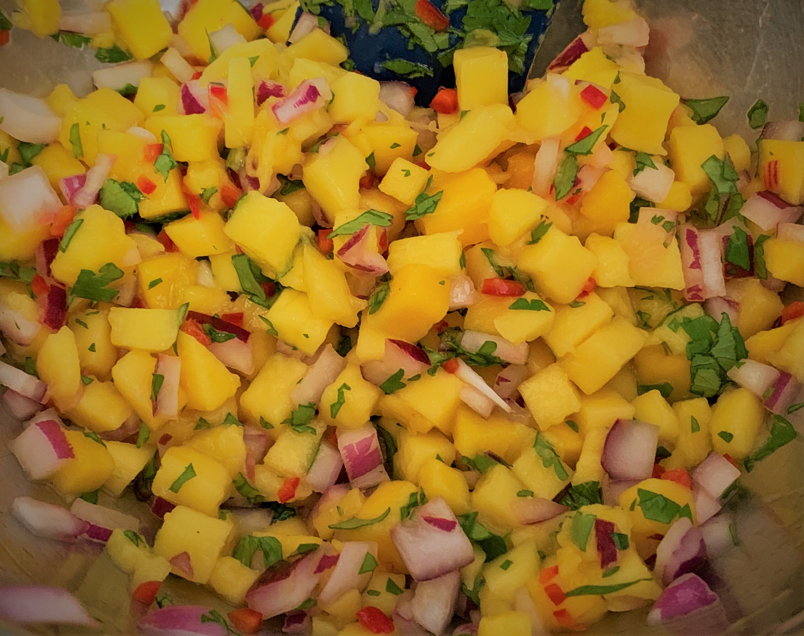 Our combined Mango Salsa for our Kalua-Style Pulled Pork Tots with Polynesian BBQ Sauce & Mango Salsa