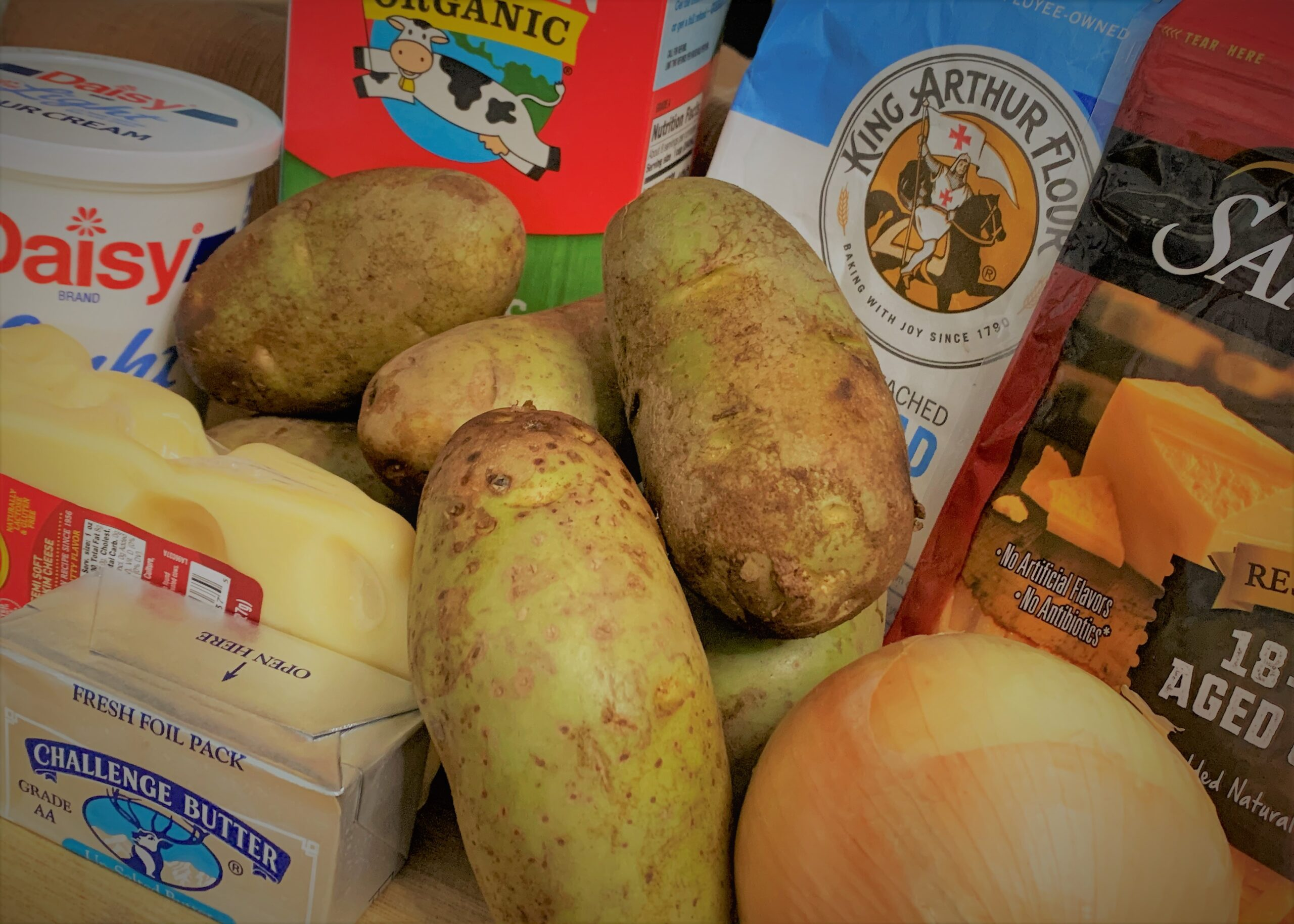 The ingredients for our Breakfast Potato Casserole from Akershus Royal Banquet Hall
