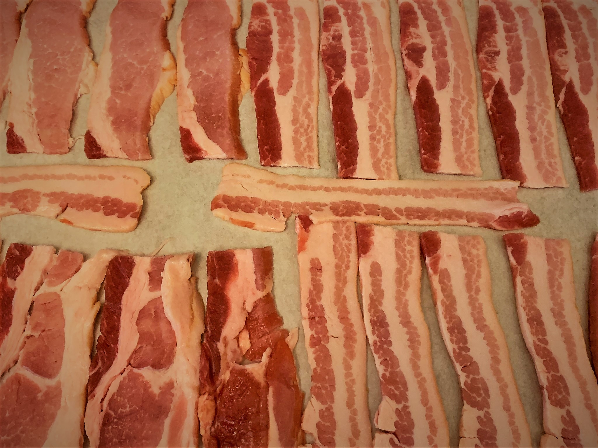 Our Bacon laid out and ready to be cooked in the oven