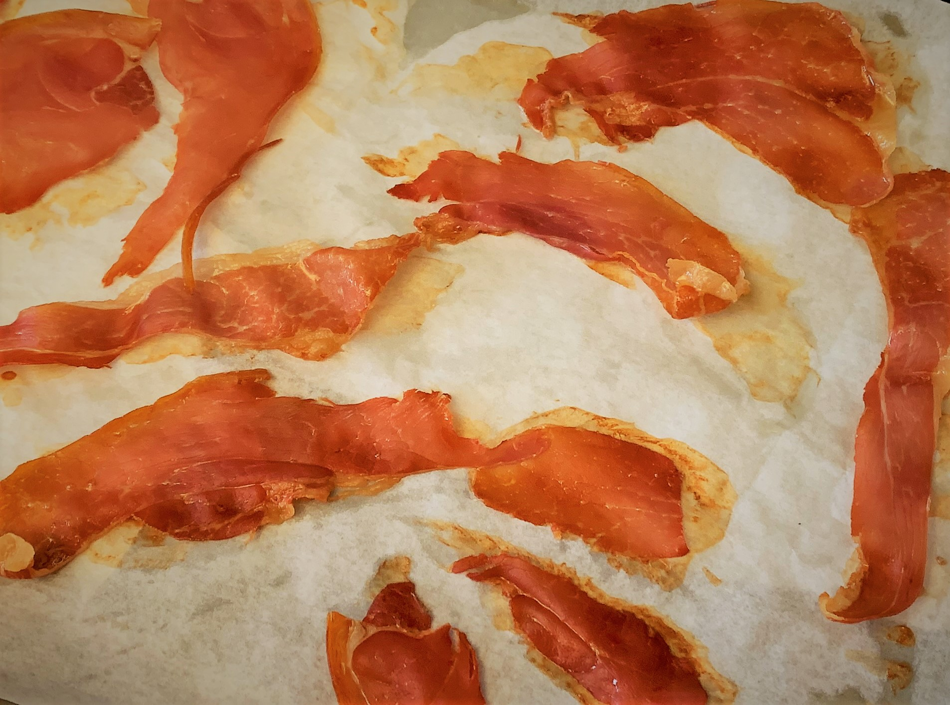 The Crispy Prosciutto for our Pancetta Seared Scallops with Crispy Prosciutto & Minted Pea Puree