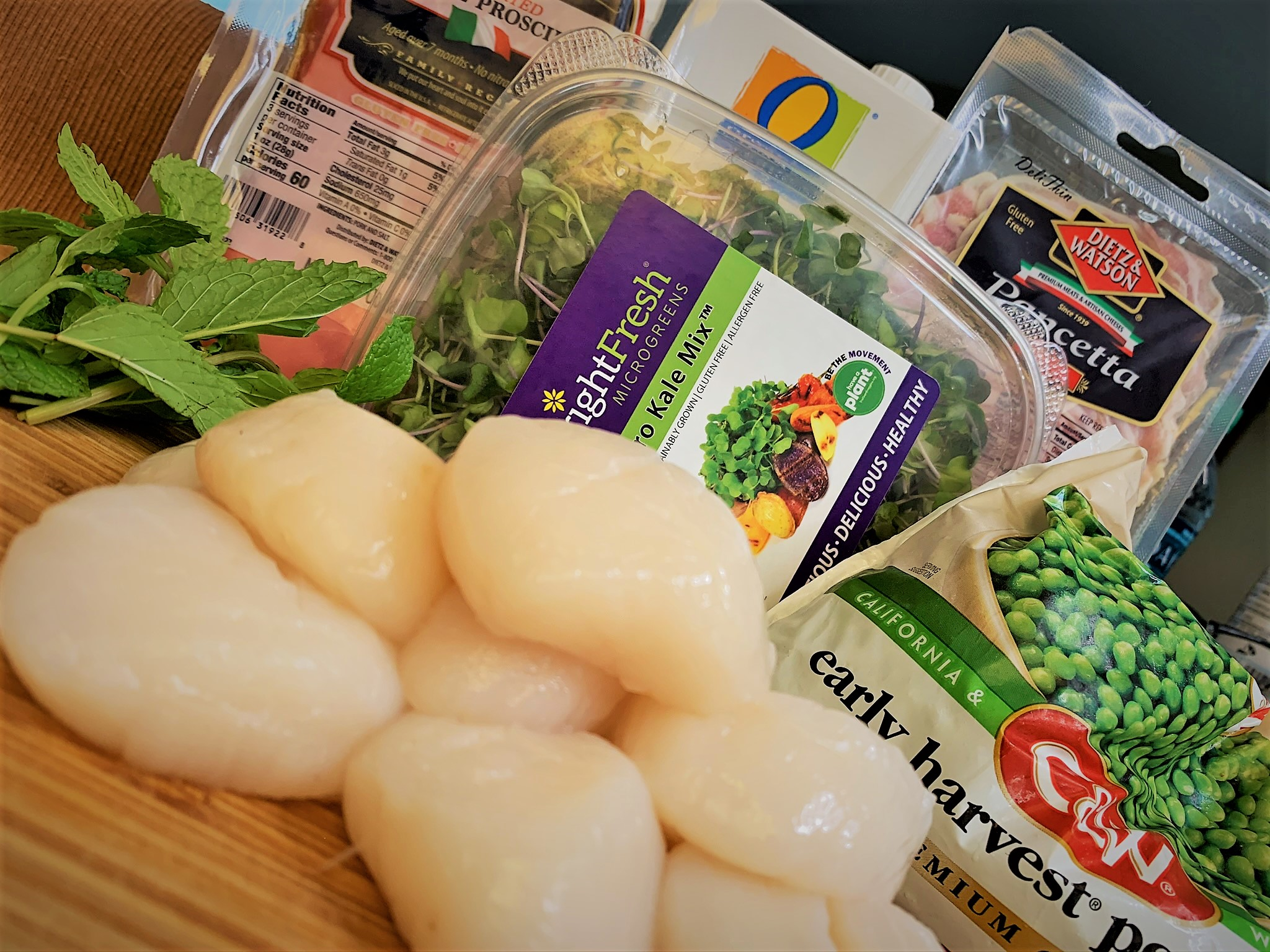 The ingredients for our Pancetta Seared Scallops with Crispy Prosciutto and Minted Pea Puree