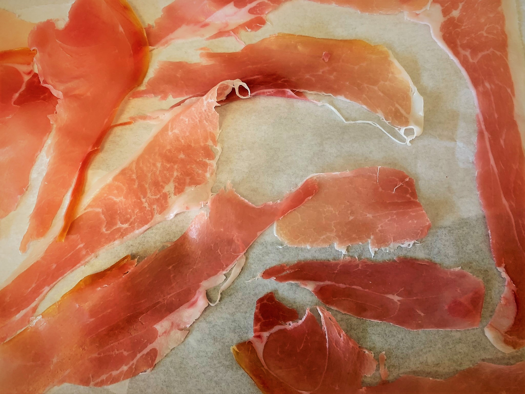 Prepping our Crispy Prosciutto