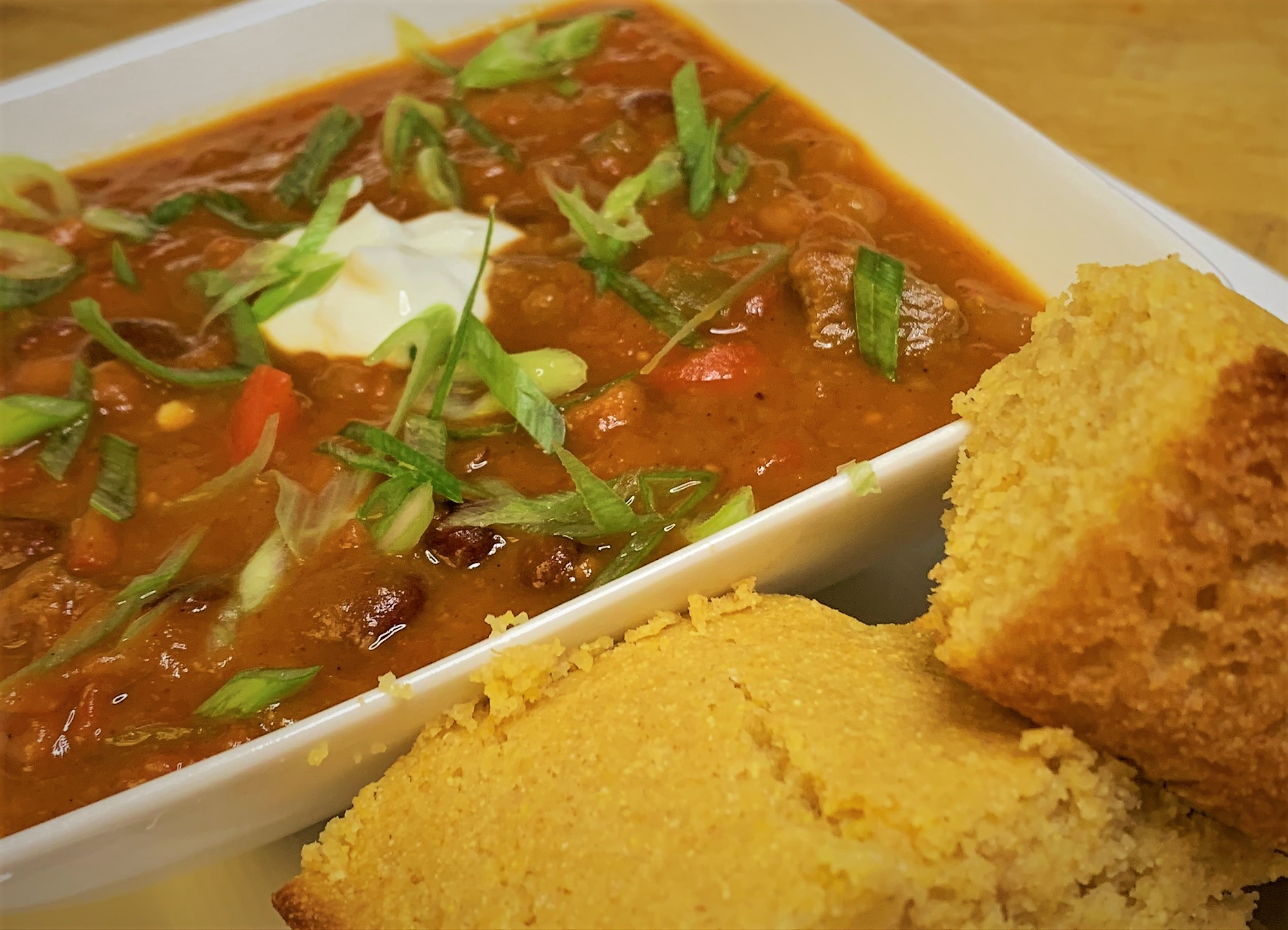 Our plated Pumpkin Chili Recipe with the famous Corn Bread from the Hoop Dee Doo Review