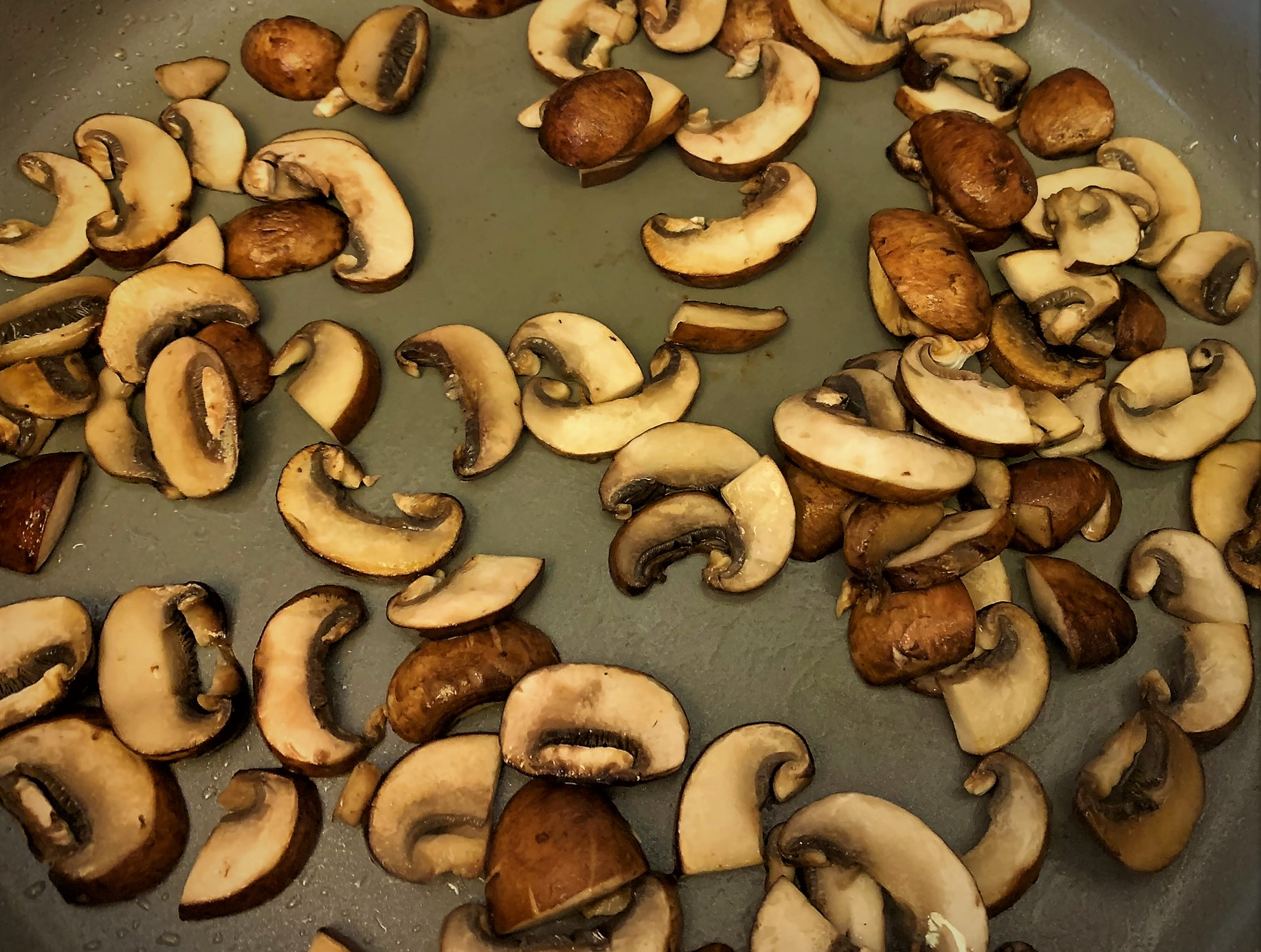Browning the Mushrooms for our Guinness Braised Short Rib Pot Pie