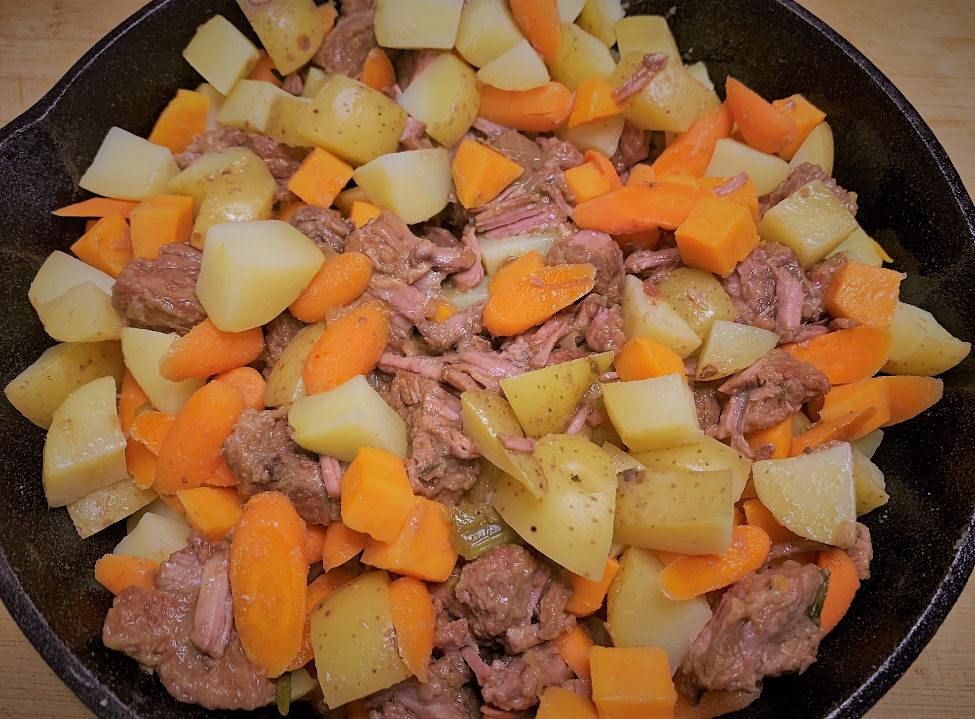 Adding the Root Vegetables to our Guinness Braised Short Rib Pot Pie