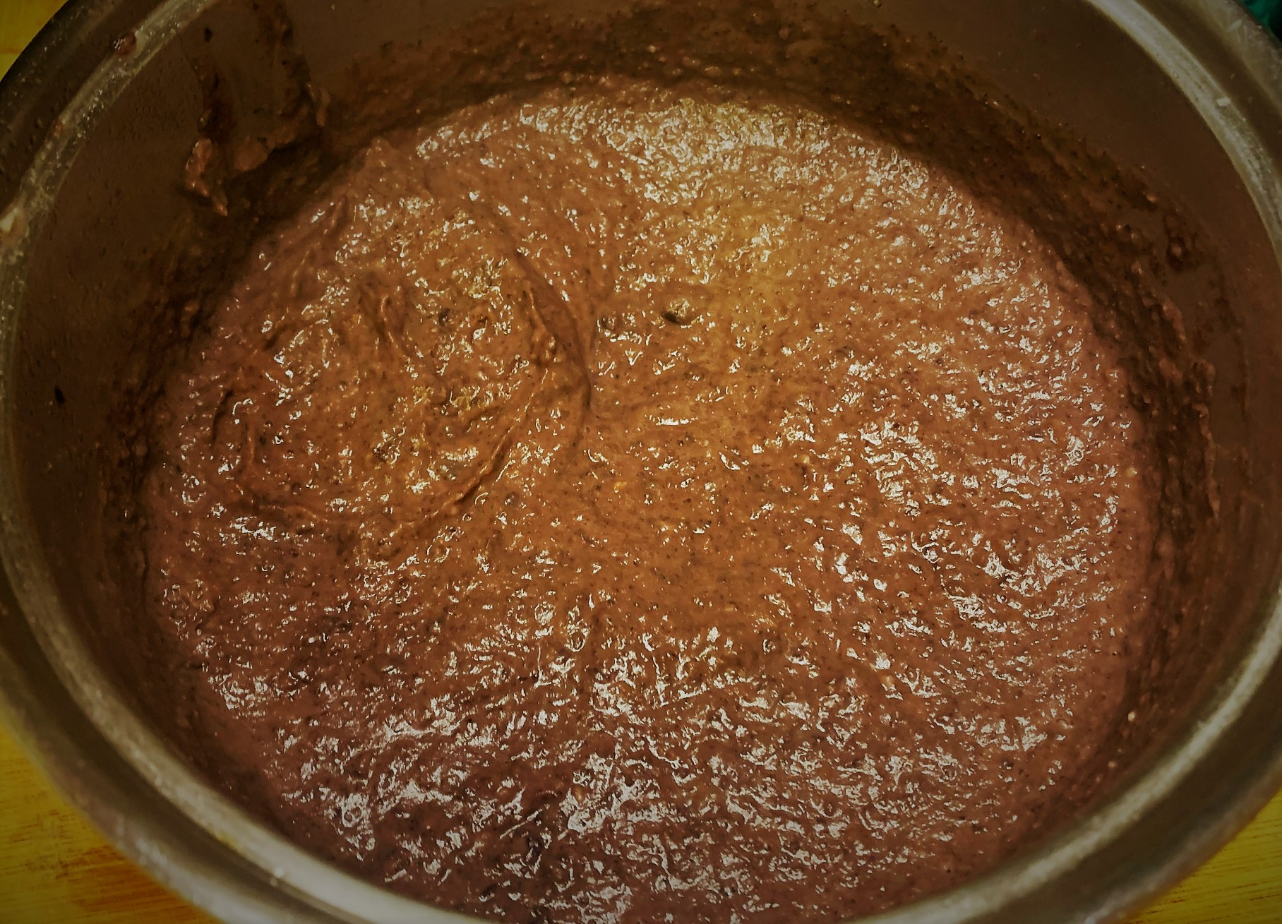 The completed Black Bean Puree for our Tostada de Chorizo from Las Posadas Holiday Kitchen