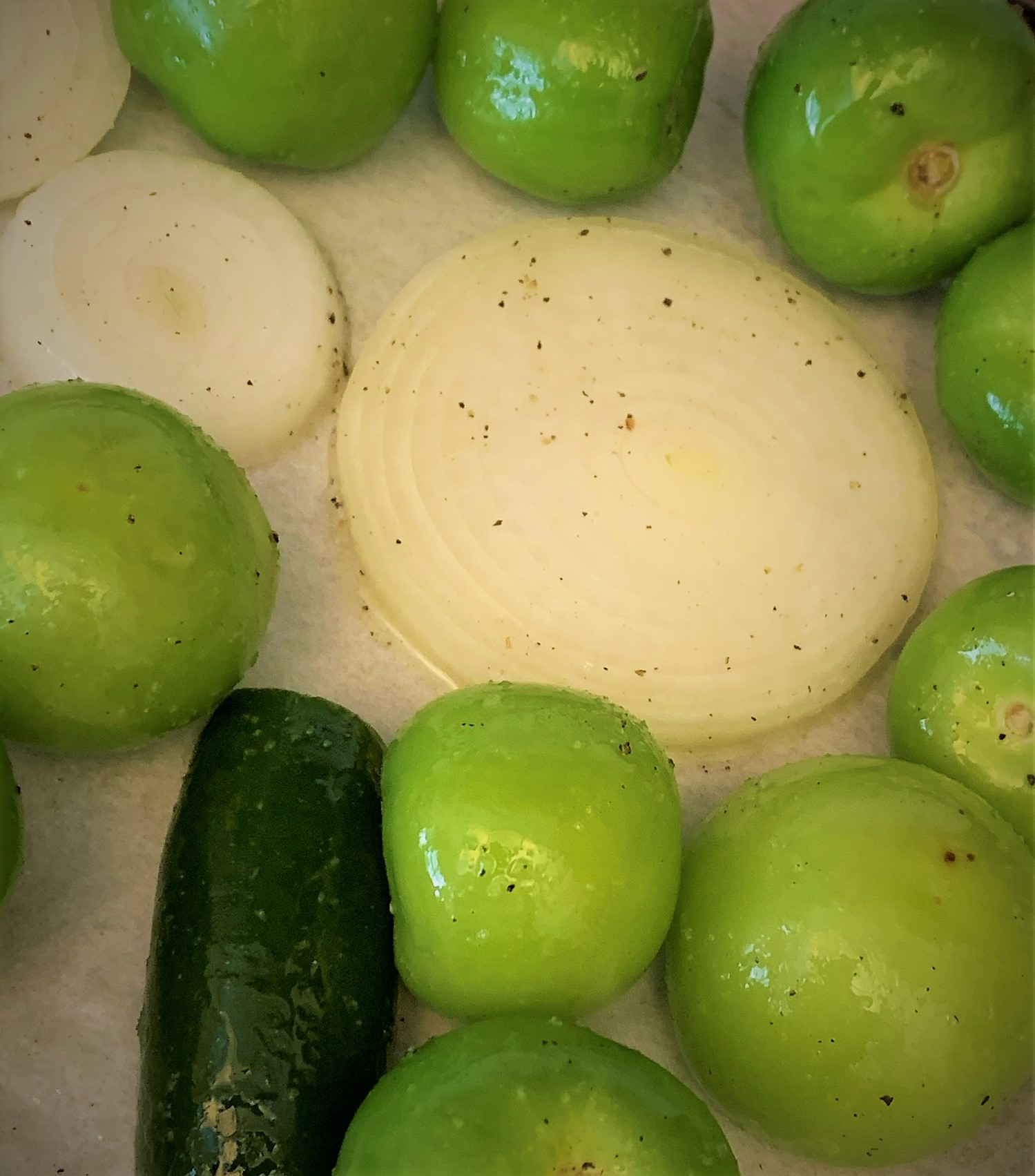 Our prepared Tomatillos, Onions and Jalapenos ready for roasting