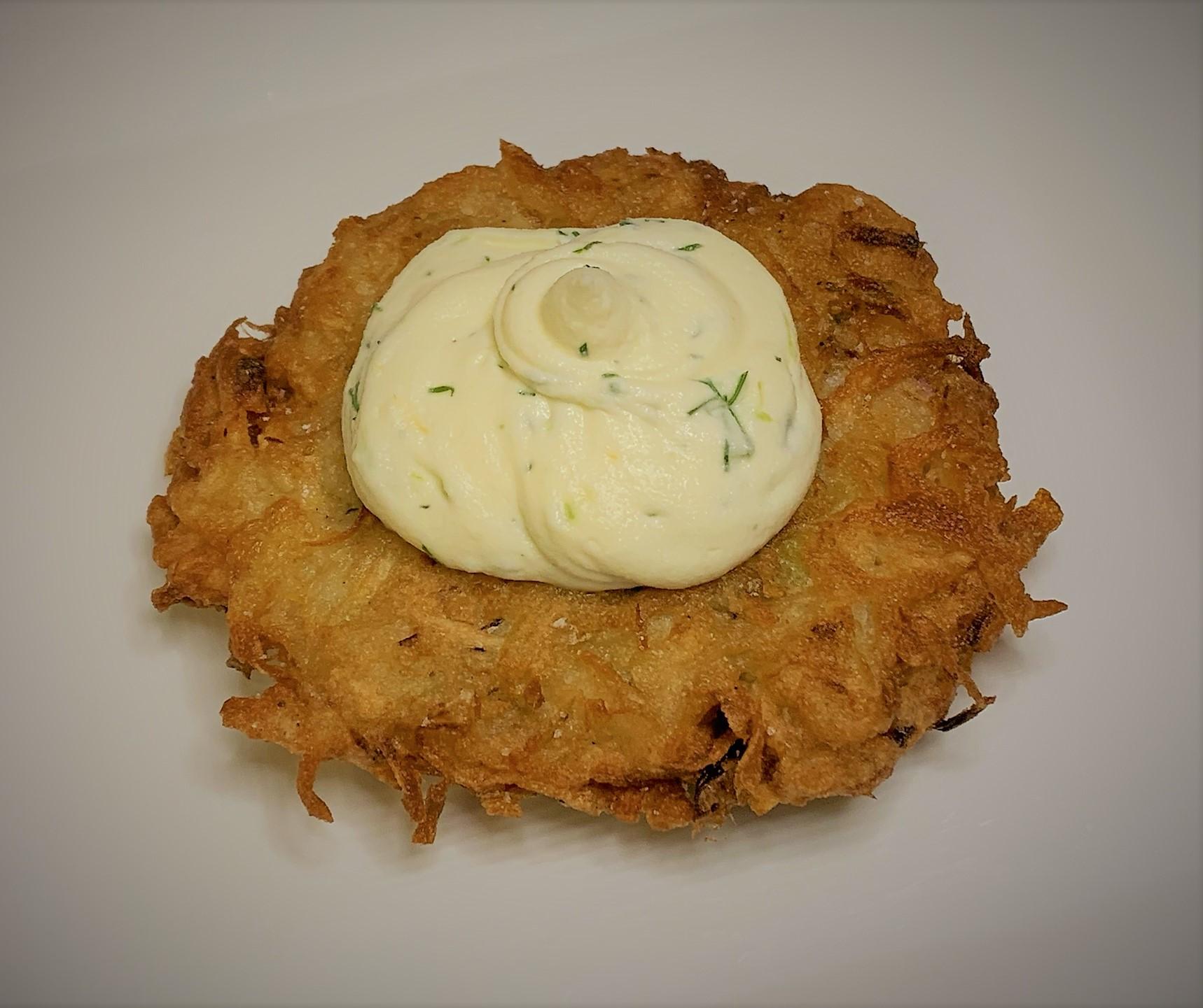Adding the Citrus-Herb Cream Cheese to the Potato Latkes - Smoked Salmon Potato Latkes