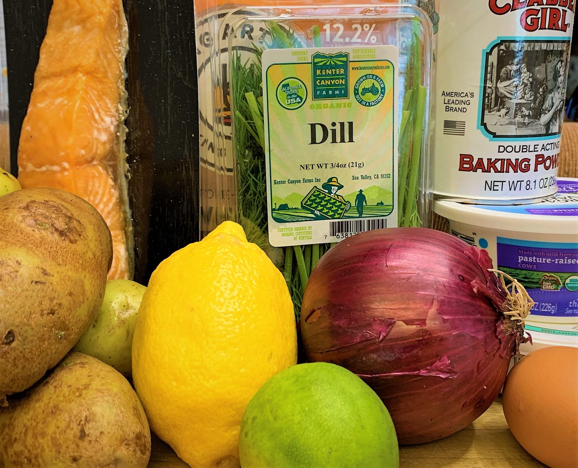 The ingredients for our Smoked Salmon Potato Latkes