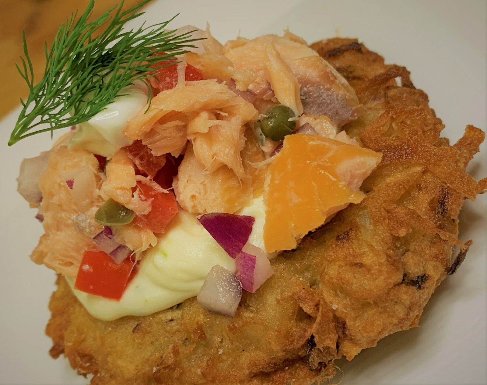Our plated Smoked Salmon Potato Latke - Smoked Salmon Potato Latkes