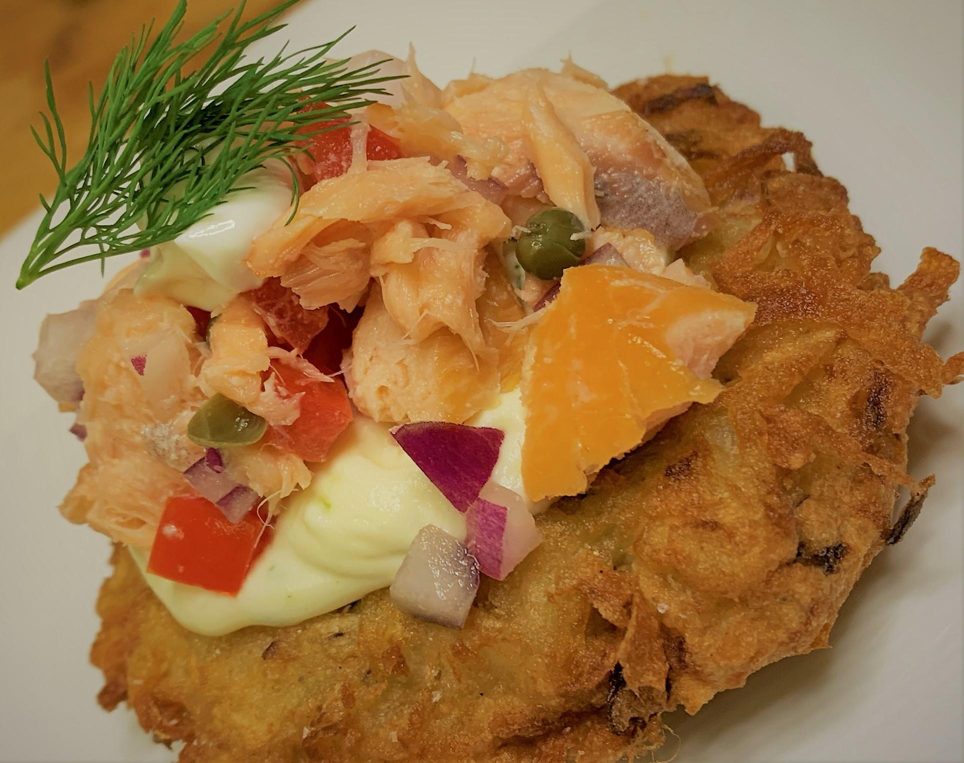 Our plated Smoked Salmon Potato Latke - Smoked Salmon Potato Latkes