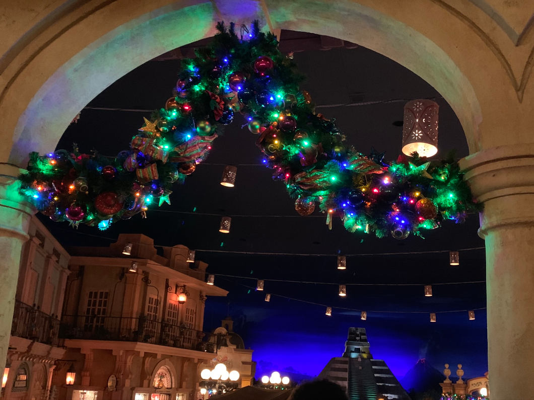 Holiday decorations in the Mexico Pavilion - Epcot