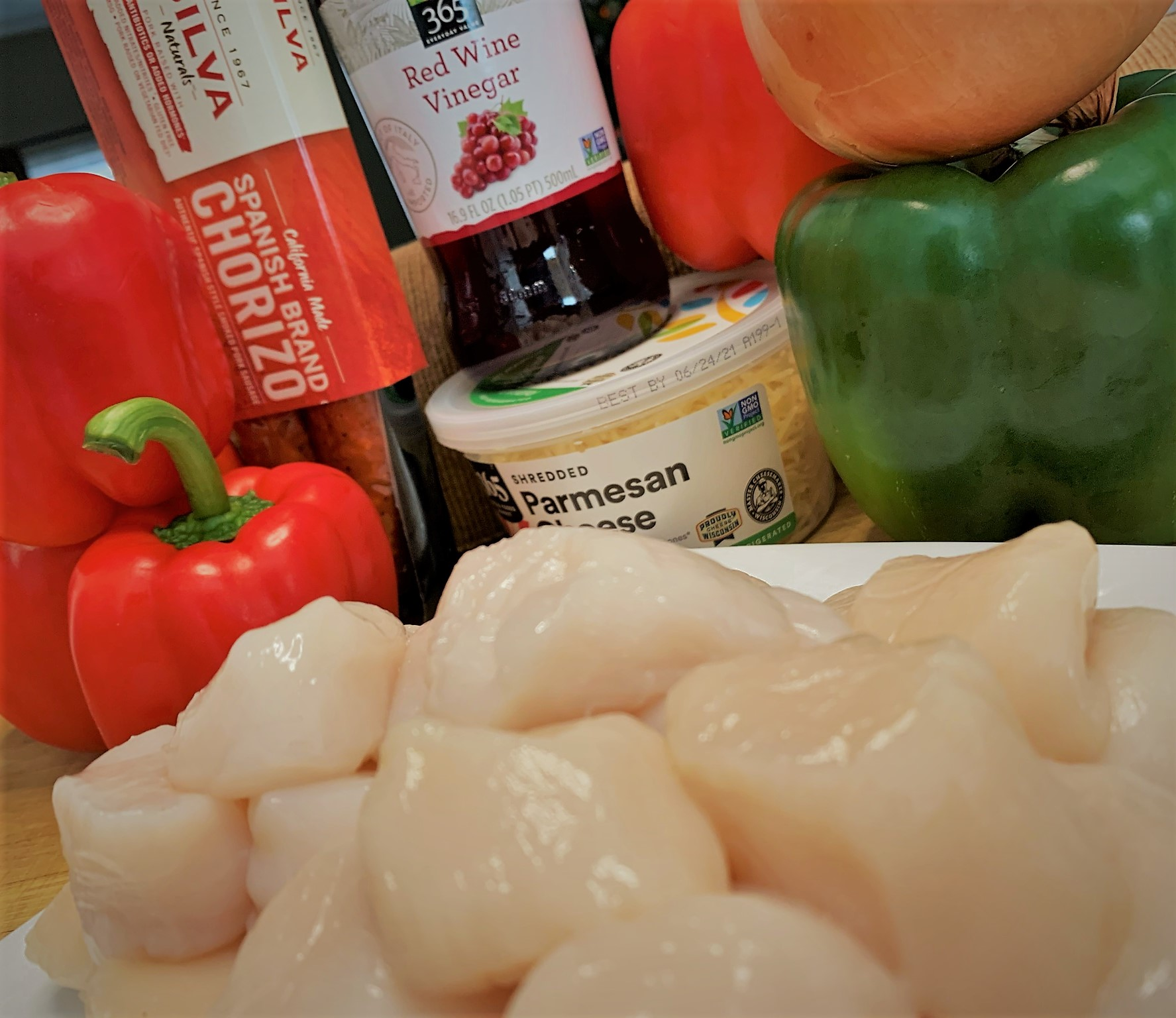 The ingredients for our Seared Scallops with Chorizo and Red Pepper Coulis