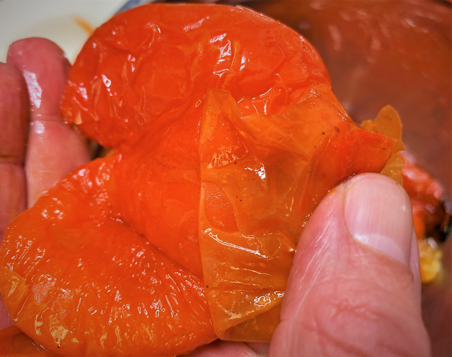 Peeling the Roasted Red Bell Peppers for our Red Pepper Coulis - Seared Scallops with Chorizo and Red Pepper Coulis