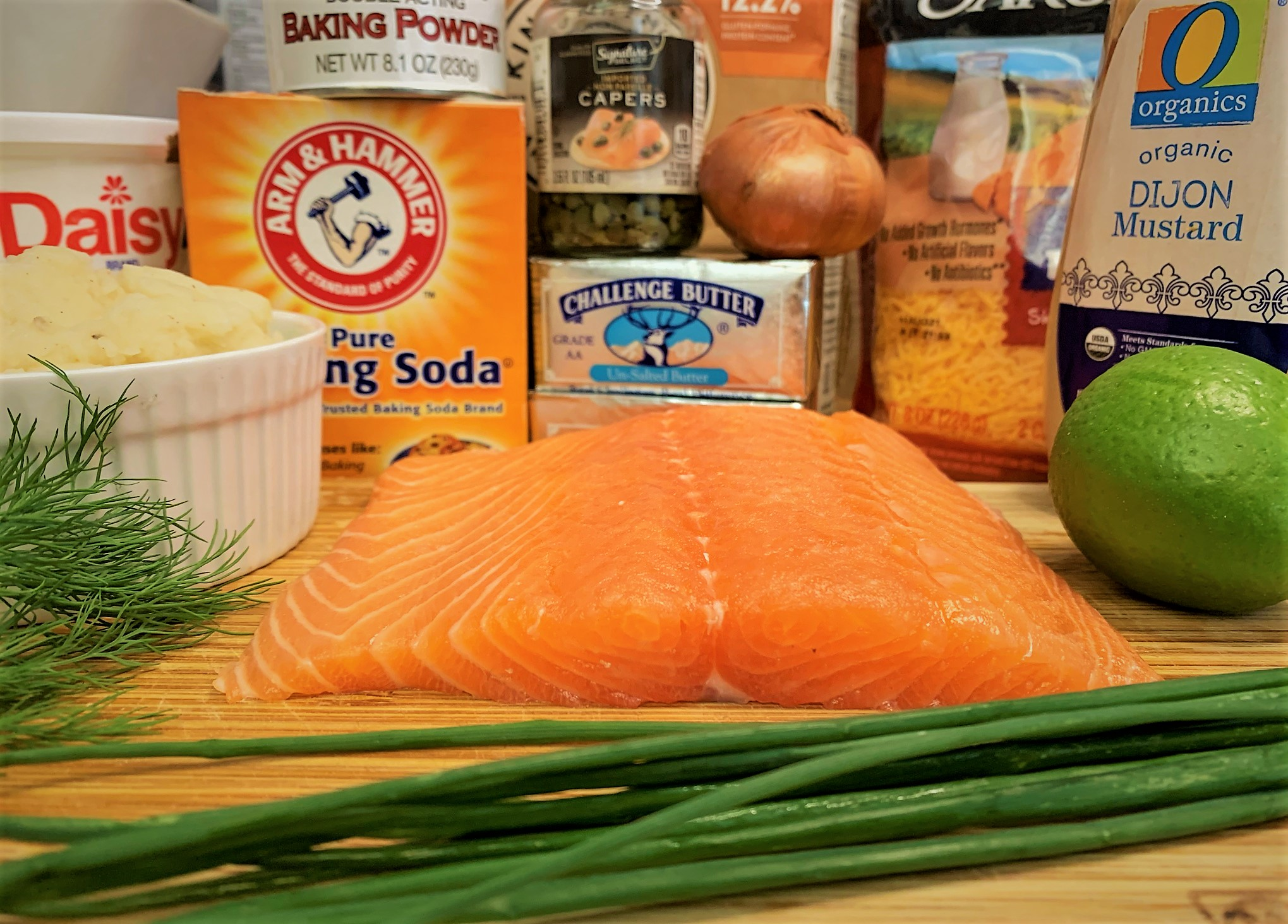 The ingredients for our Potato Cheddar Biscuits with Salmon Tartare
