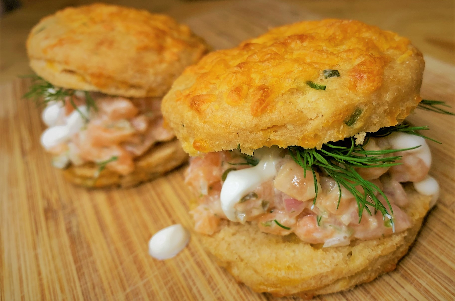 Our completed Potato Cheddar Biscuits with Salmon Tartare