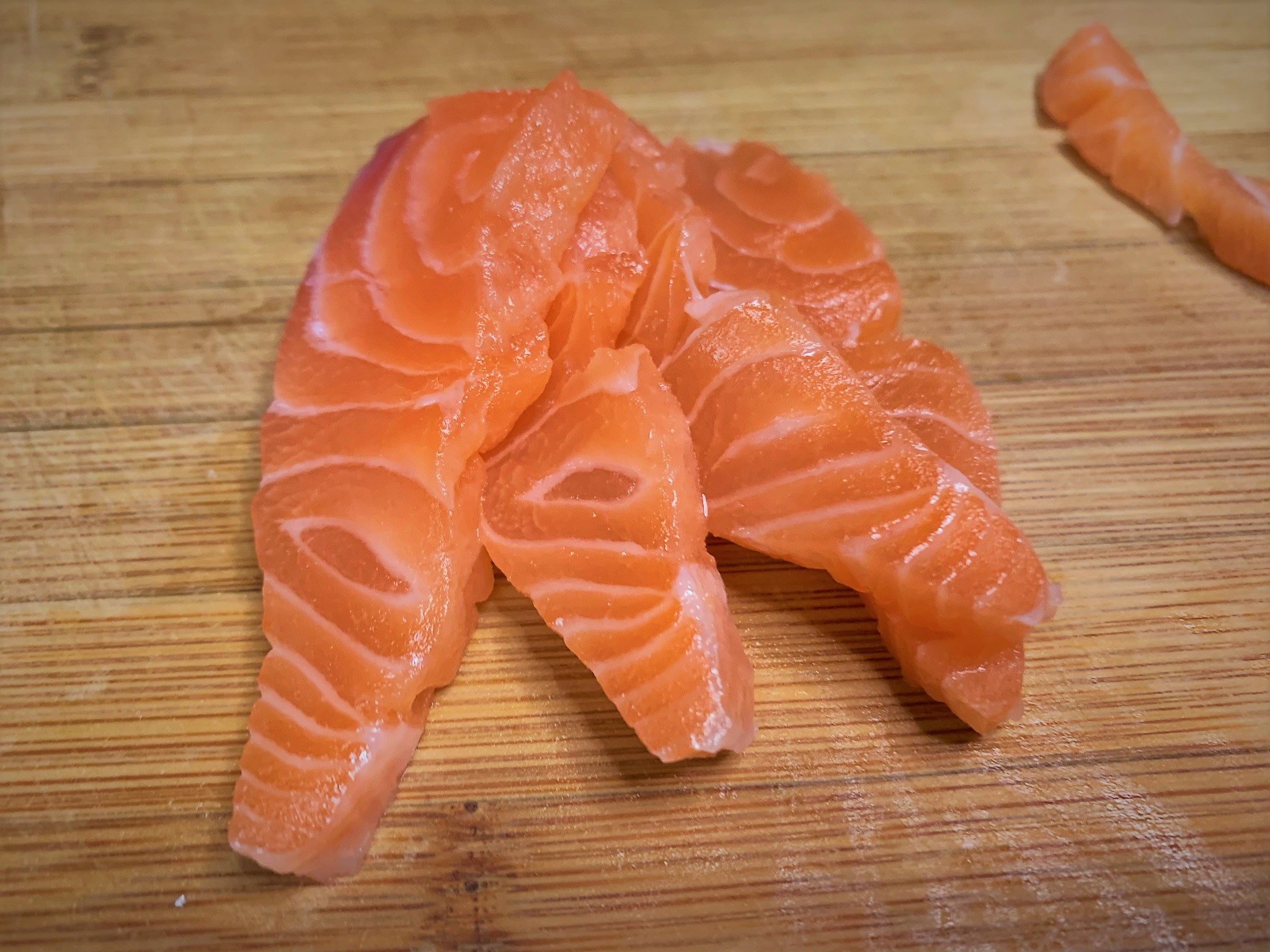 Sliced Salmon for the Salmon Tartare - Potato Cheddar Biscuits with Salmon Tartare