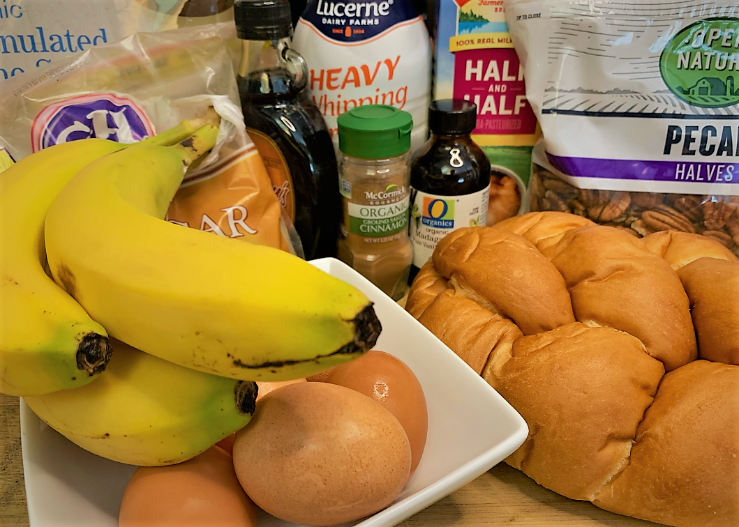 The ingredients for our Boma French Toast Bread Pudding with Pecan Praline Sauce Recipe