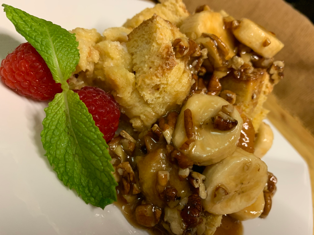 Our completed Boma French Toast Bread Pudding with Pecan Praline Sauce Recipe