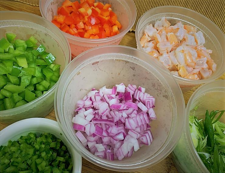 Our prepped Shrimp Ceviche ingredients - Shrimp Ceviche with Lime-Mint Foam