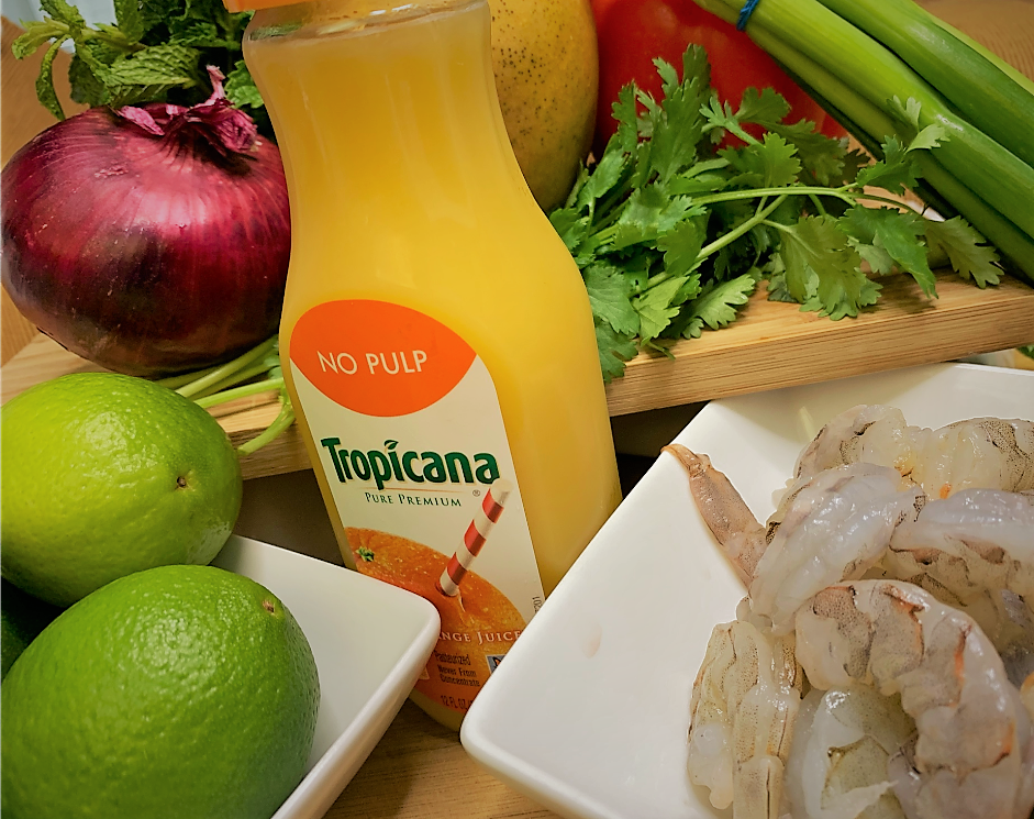 The ingredients for our Shrimp Ceviche with Lime-Mint Foam