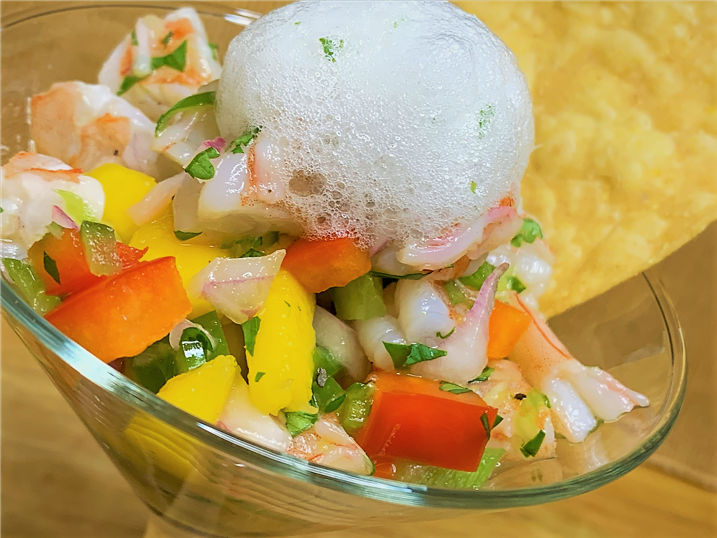 Our completed Shrimp Ceviche with Lime-Mint Foam