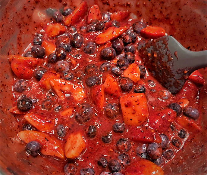 The fully combined Berry Compote for our Warm Berry Buckle Recipe from the Epcot International Flower & Garden Festival