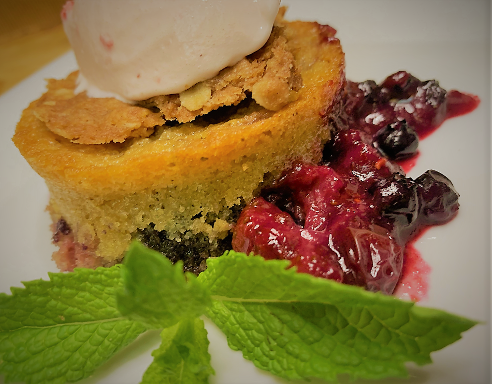 Our fully plated Warm Berry Buckle Recipe from the Epcot International Flower & Garden Festival