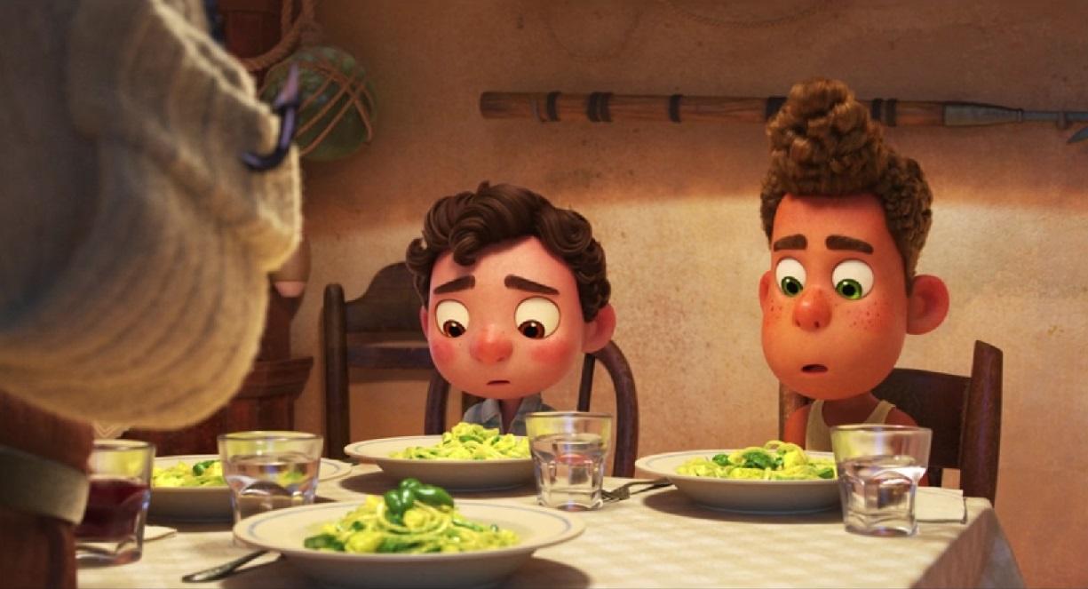 Luca and Aleberto served Trenette al Pesto - Trenette al Pesto from Disney/Pixar's Luca