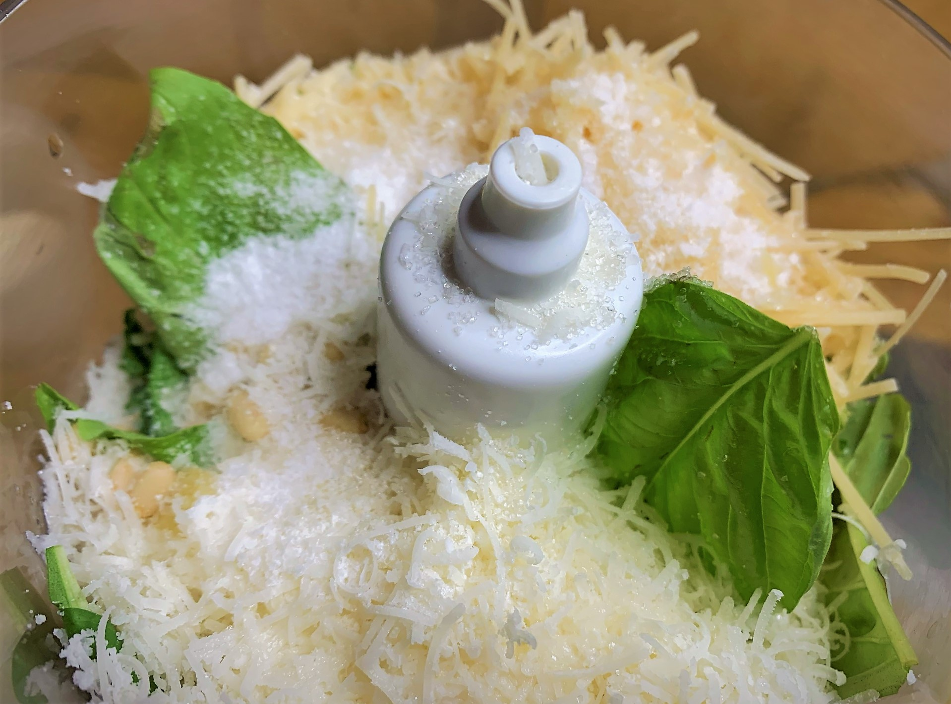 The Pesto Ingredients added to a Food Processor - Trenette al Pesto Recipe from Disney/Pixar's Luca